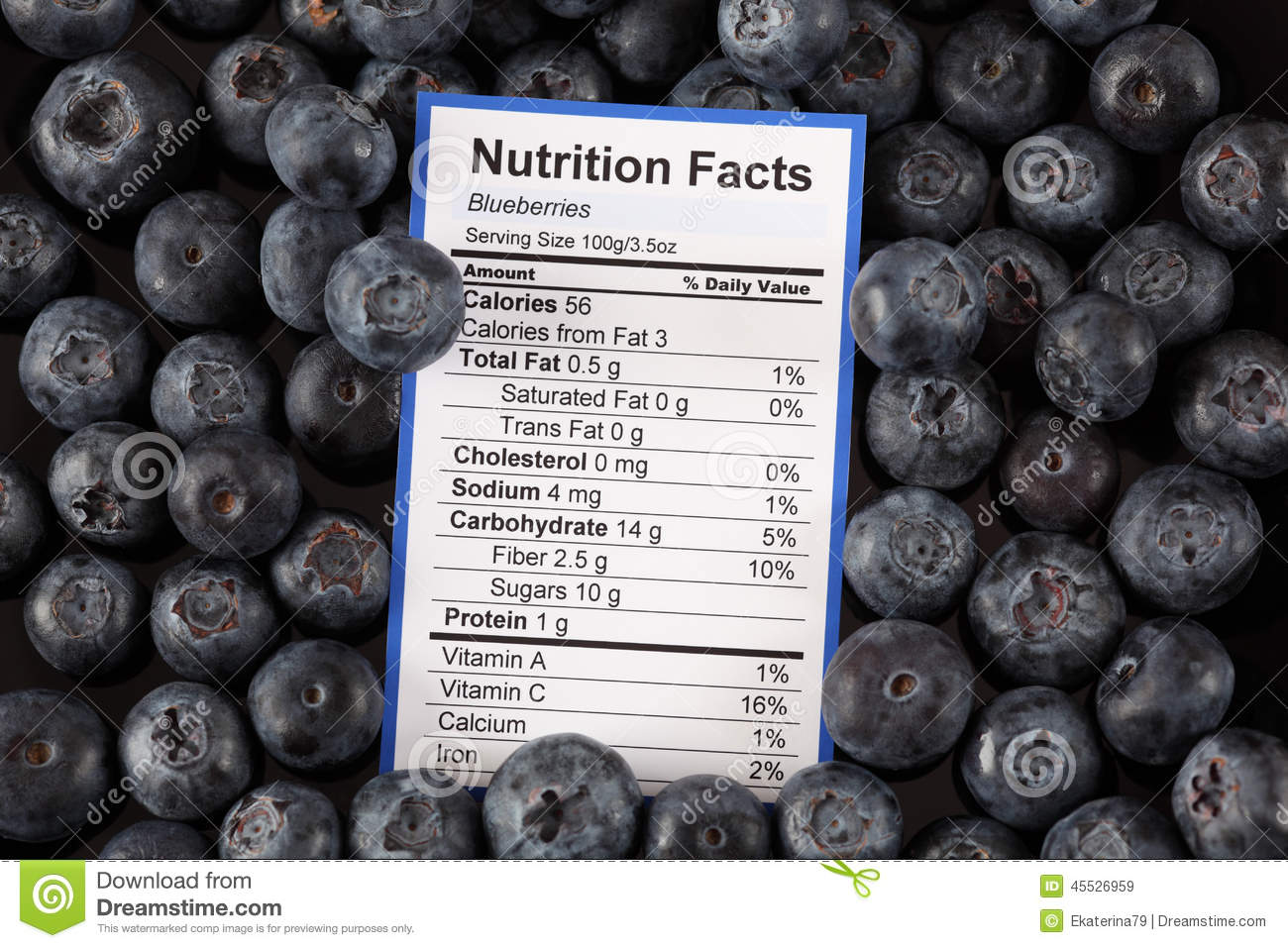 Blueberry Food Label