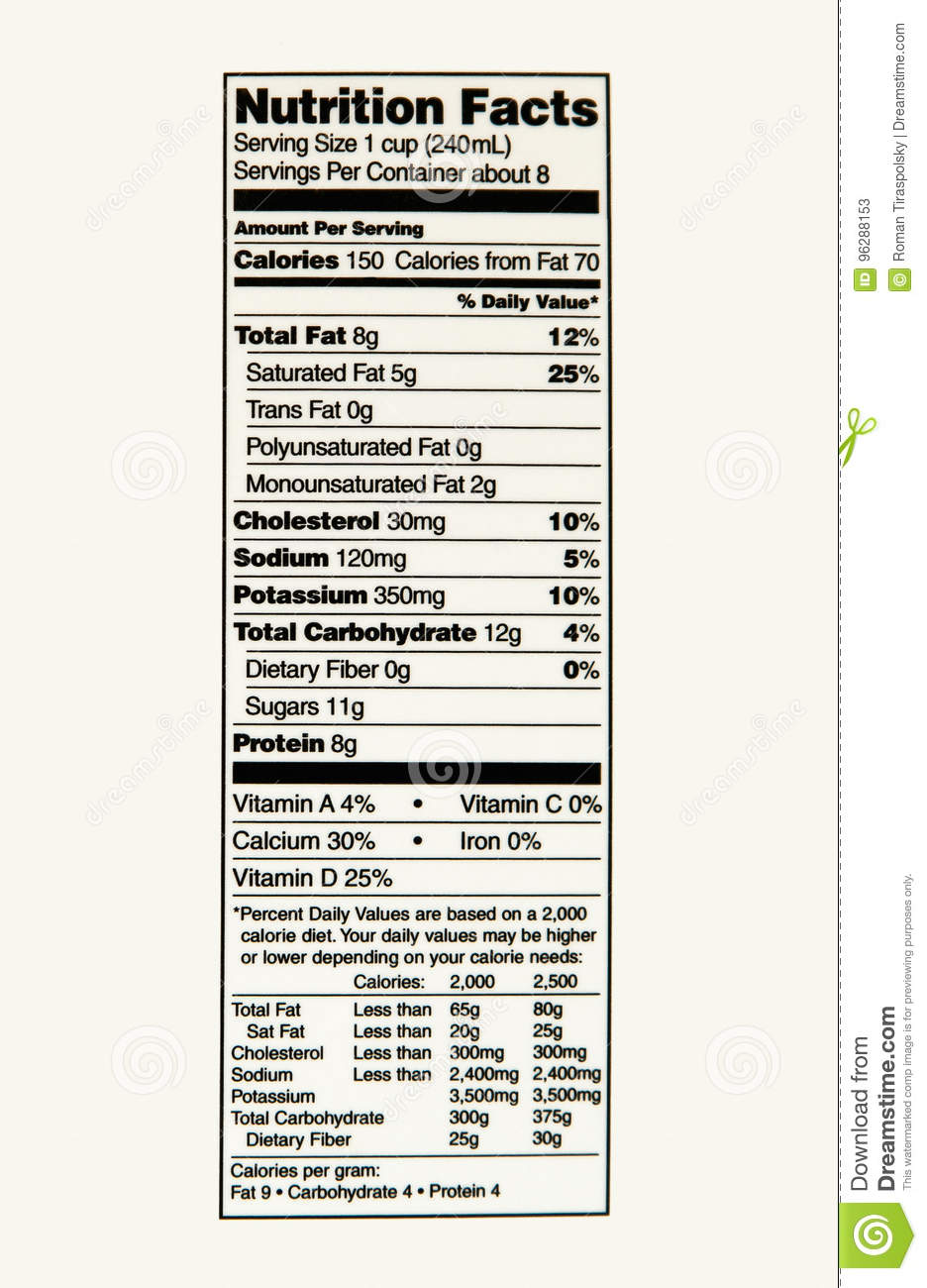 nutrition facts of whole milk stock image - image of milk, product
