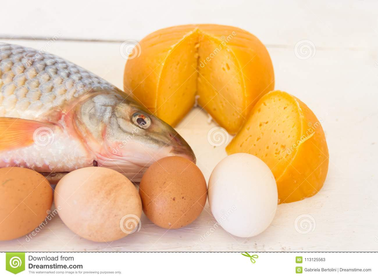 Nutrition Healthy Proteins Vitamins Fish Eggs And Cheese