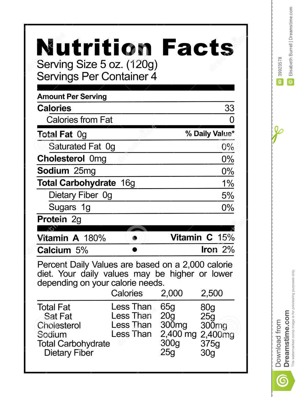 Nutrition Label Stock ...