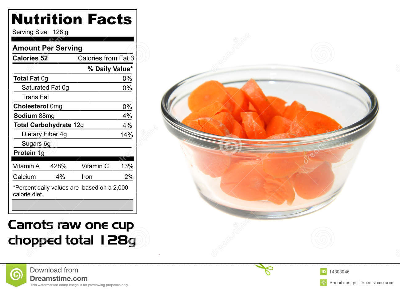 How many calories in carrots 52
