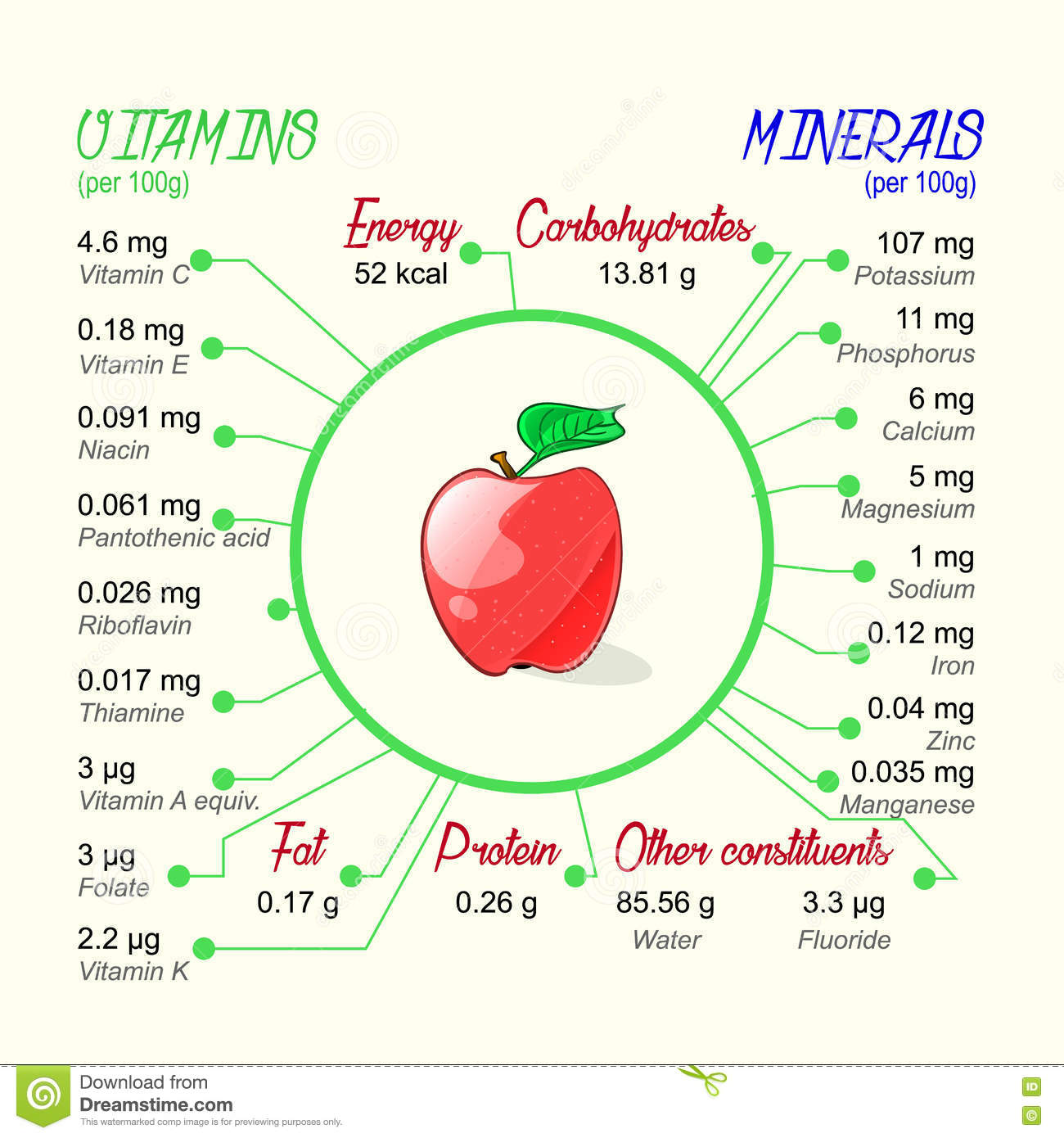 Nutritional Value Of Apple. Stock Vector - Image: 74800659