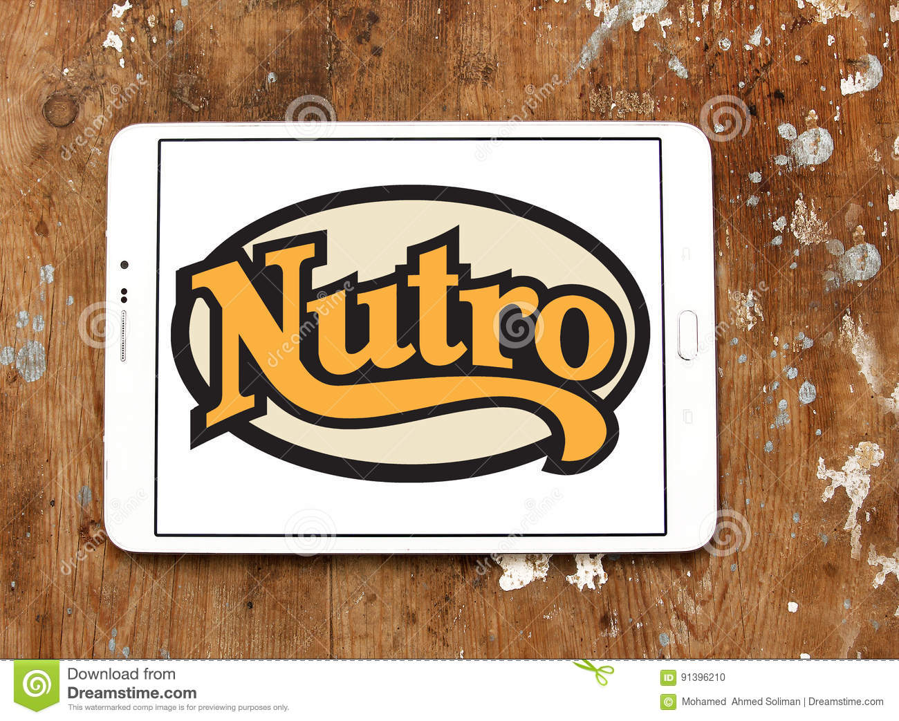 nutro-pet-food-logo-company-samsung-tablet-wooden-background-91396210