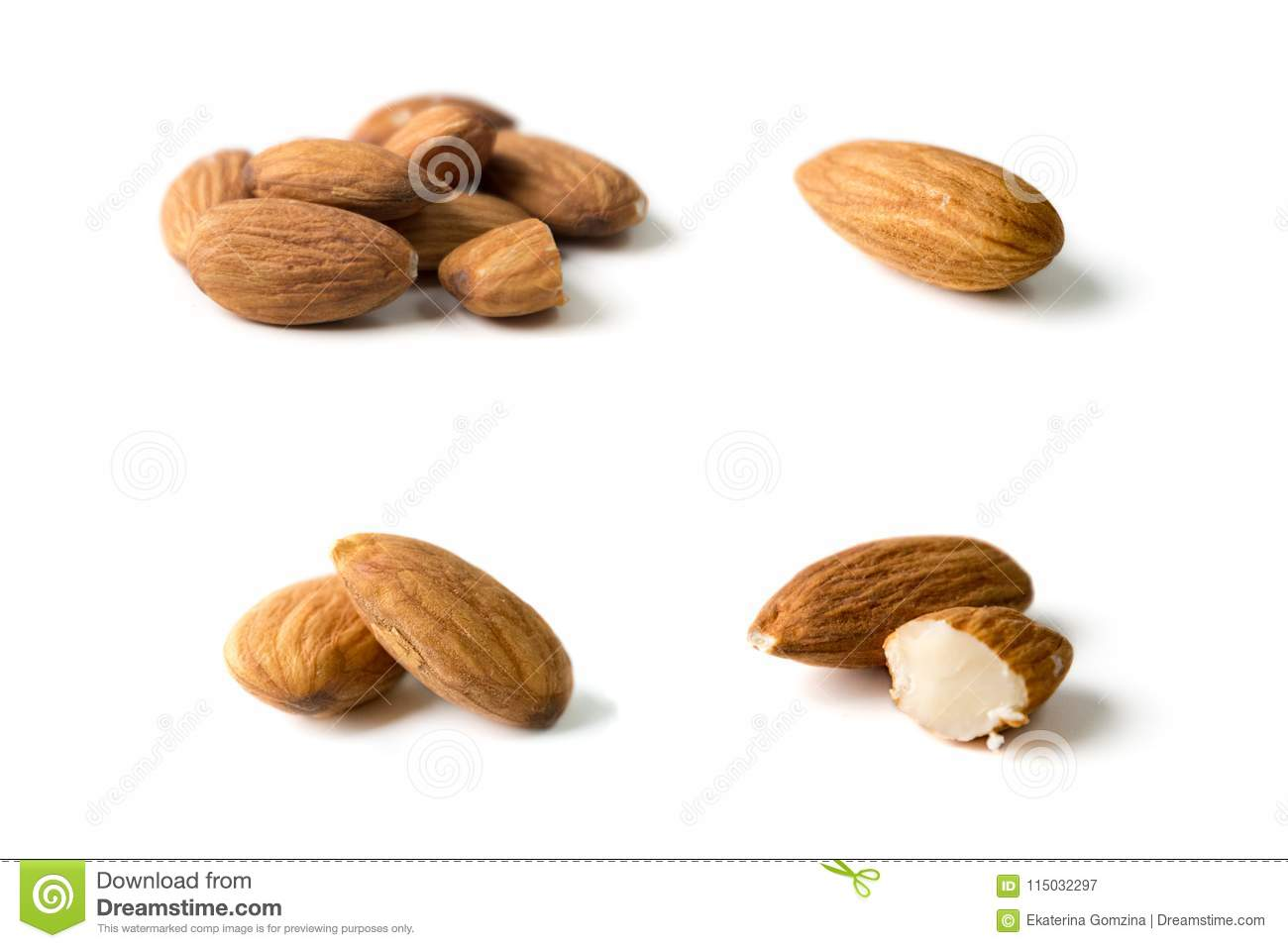 Nuts, almond, tasty and healthy food with lots of vitamins. Almond nuts. Almonds in groups and separated