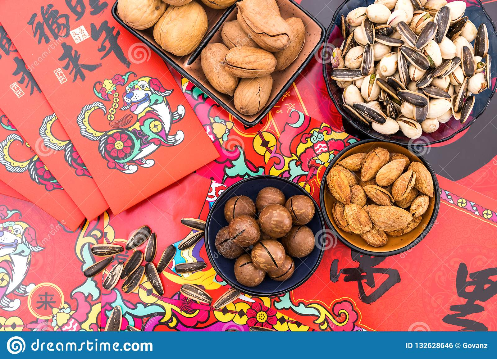Nuts in the Background of Red Couplet in Spring Festival