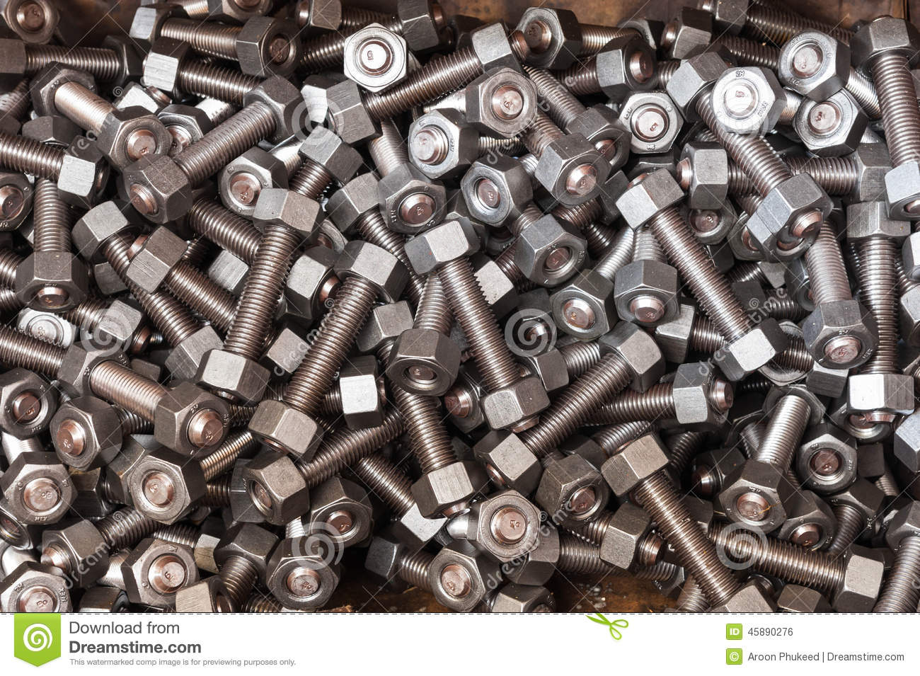 Nuts and bolts in case box stock photo  Image of instrument - 45890276