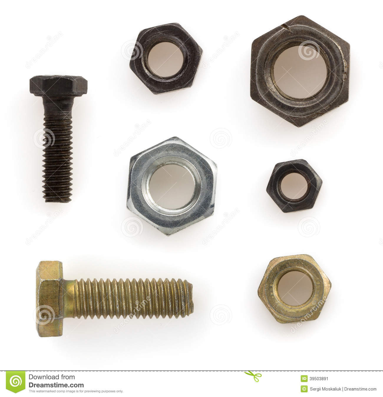 Nuts,bolts and on white