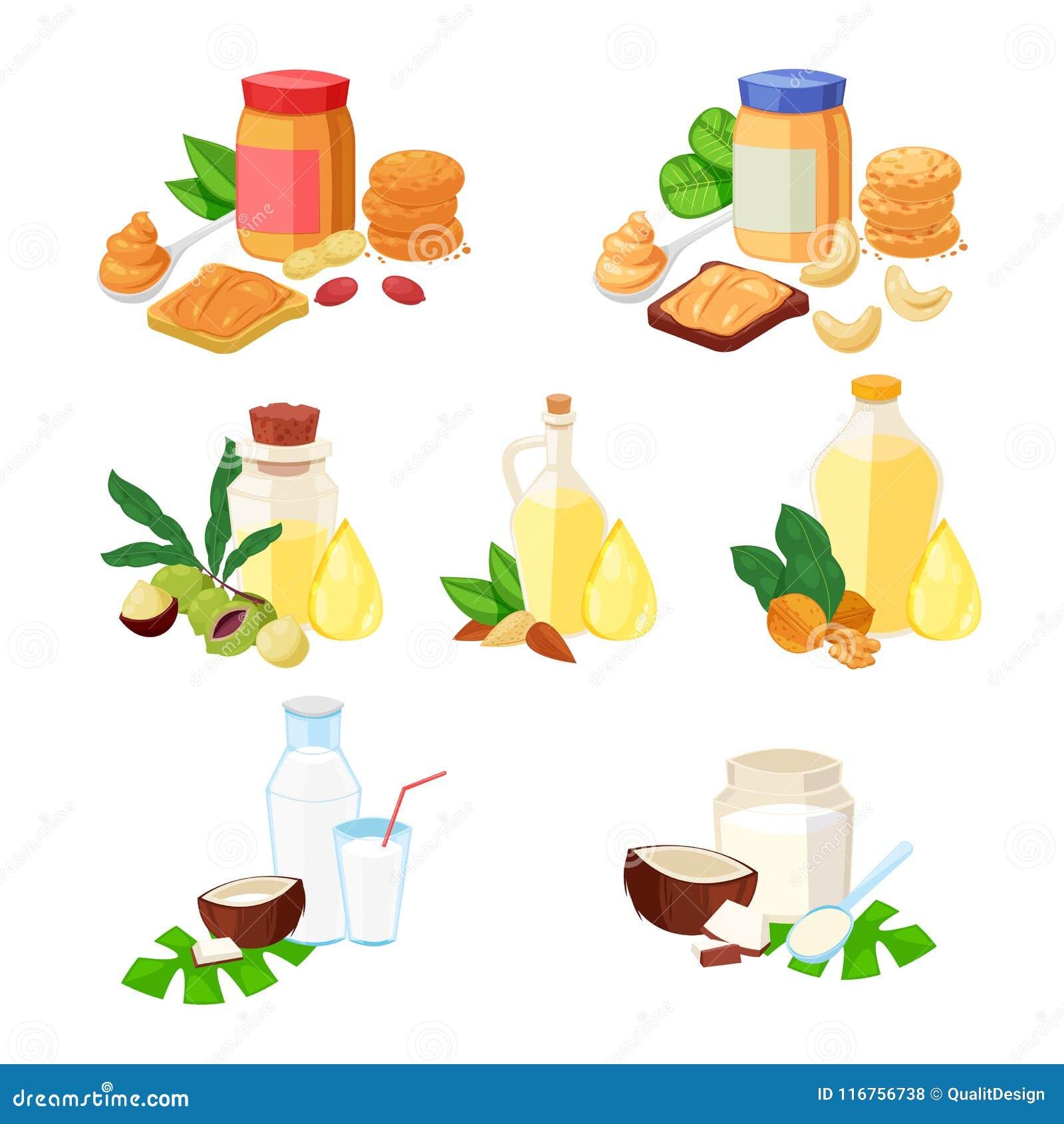 Nuts Butter, ätherisches Öl und andere Nahrungsmittelprodukte Vector eingestellte Karikaturillustration, -ikonen und -Gestaltungs