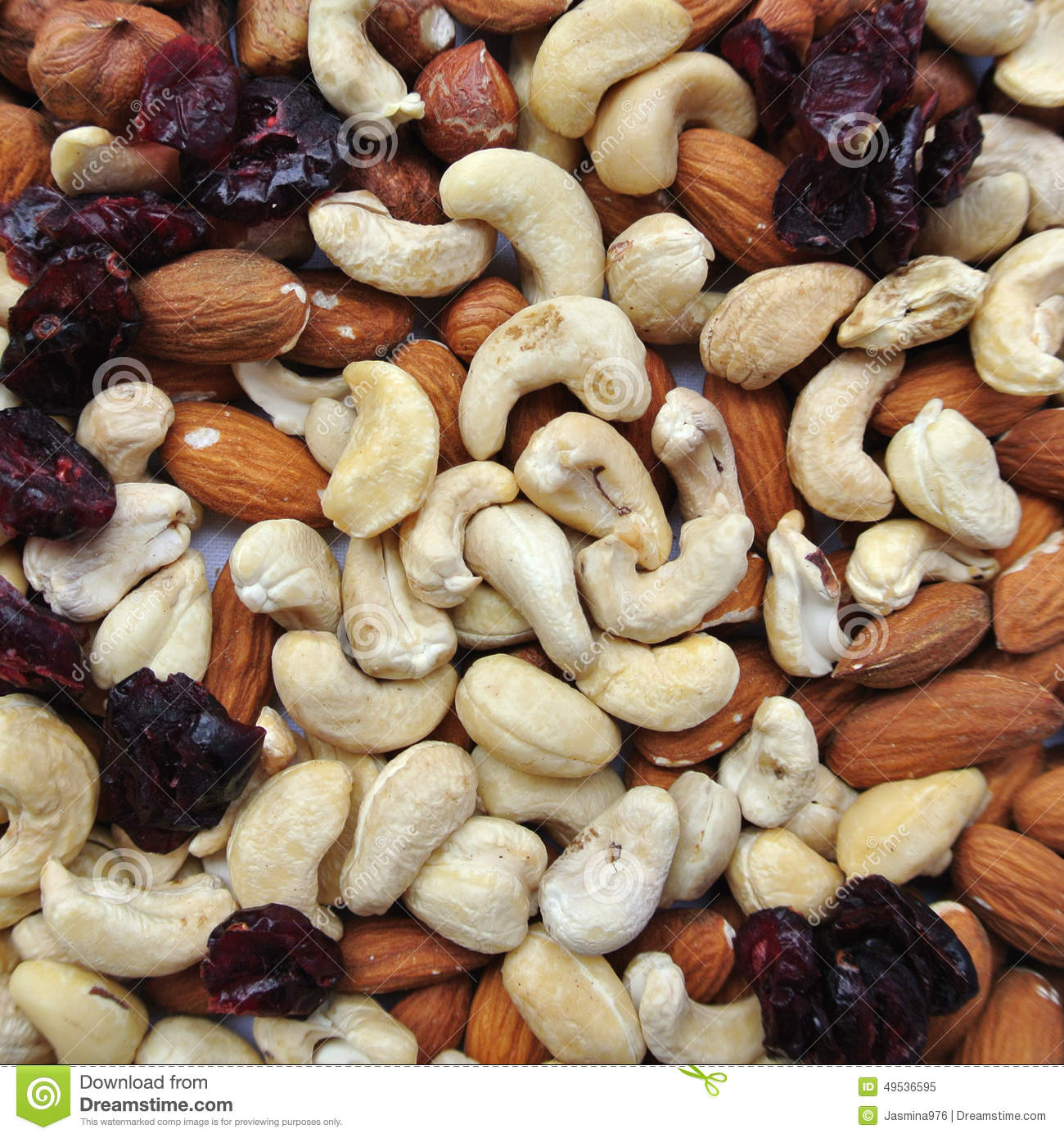 Nuts: cashews, almonds, hazelnuts and dried cranberries