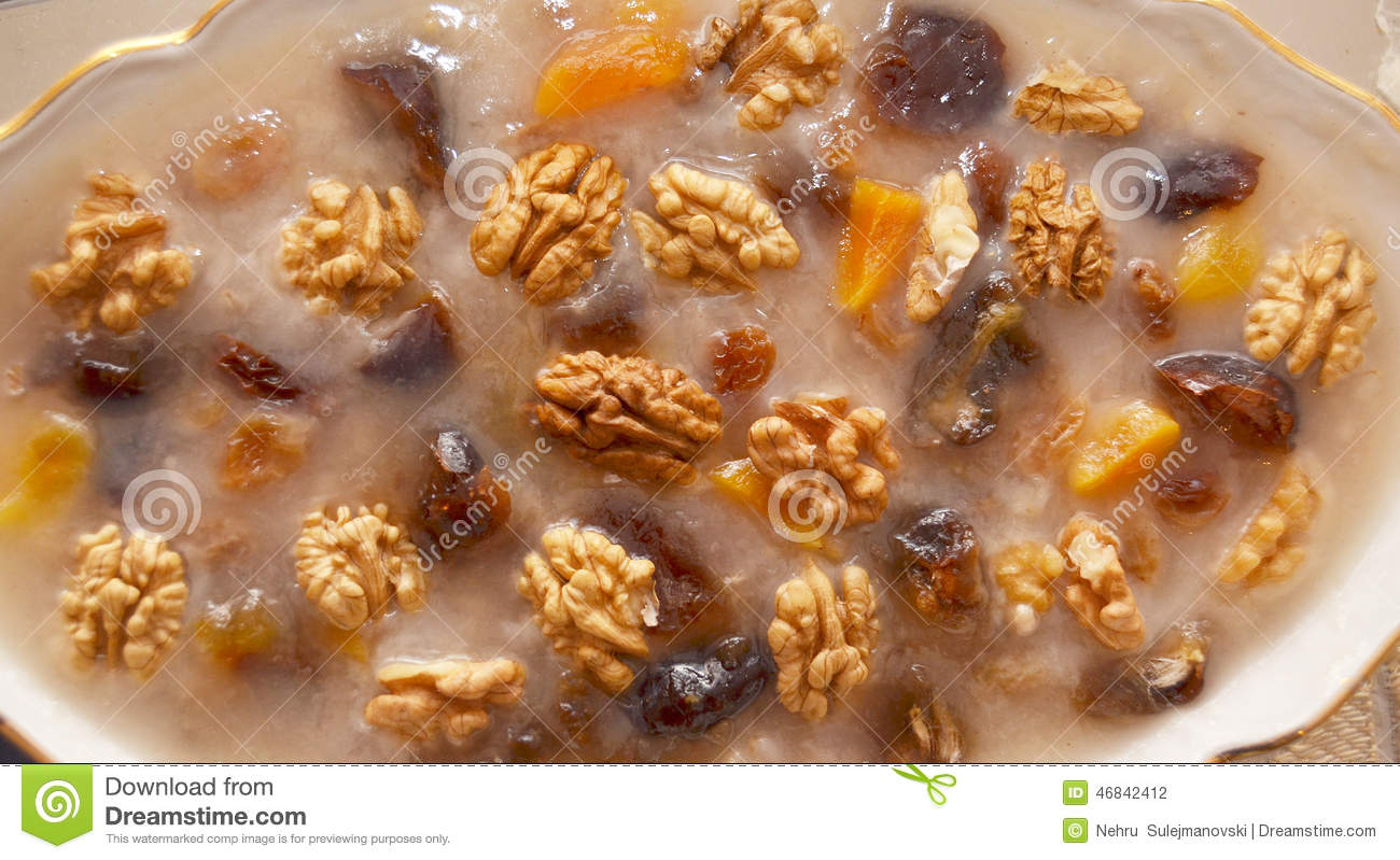 Nuts And Raisins In Pudding Stock Photo - Image: 46842412