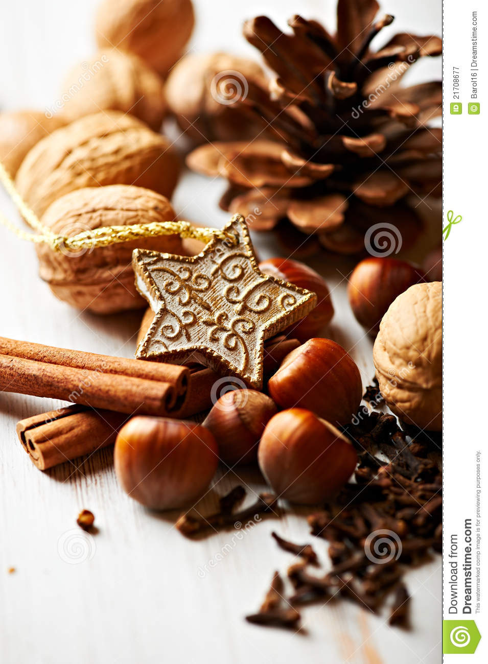 Decorating Christmas Cake Nuts : Nuts and spices for christmas cake royalty free stock