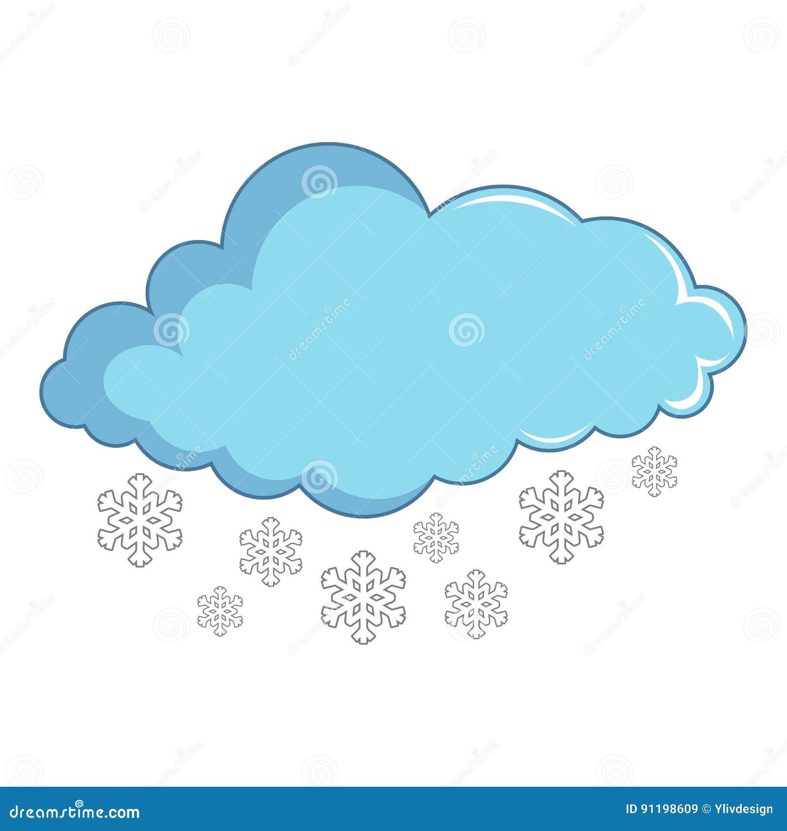 Nuvem Com Flocos De Neve Icone Estilo Dos Desenhos Animados