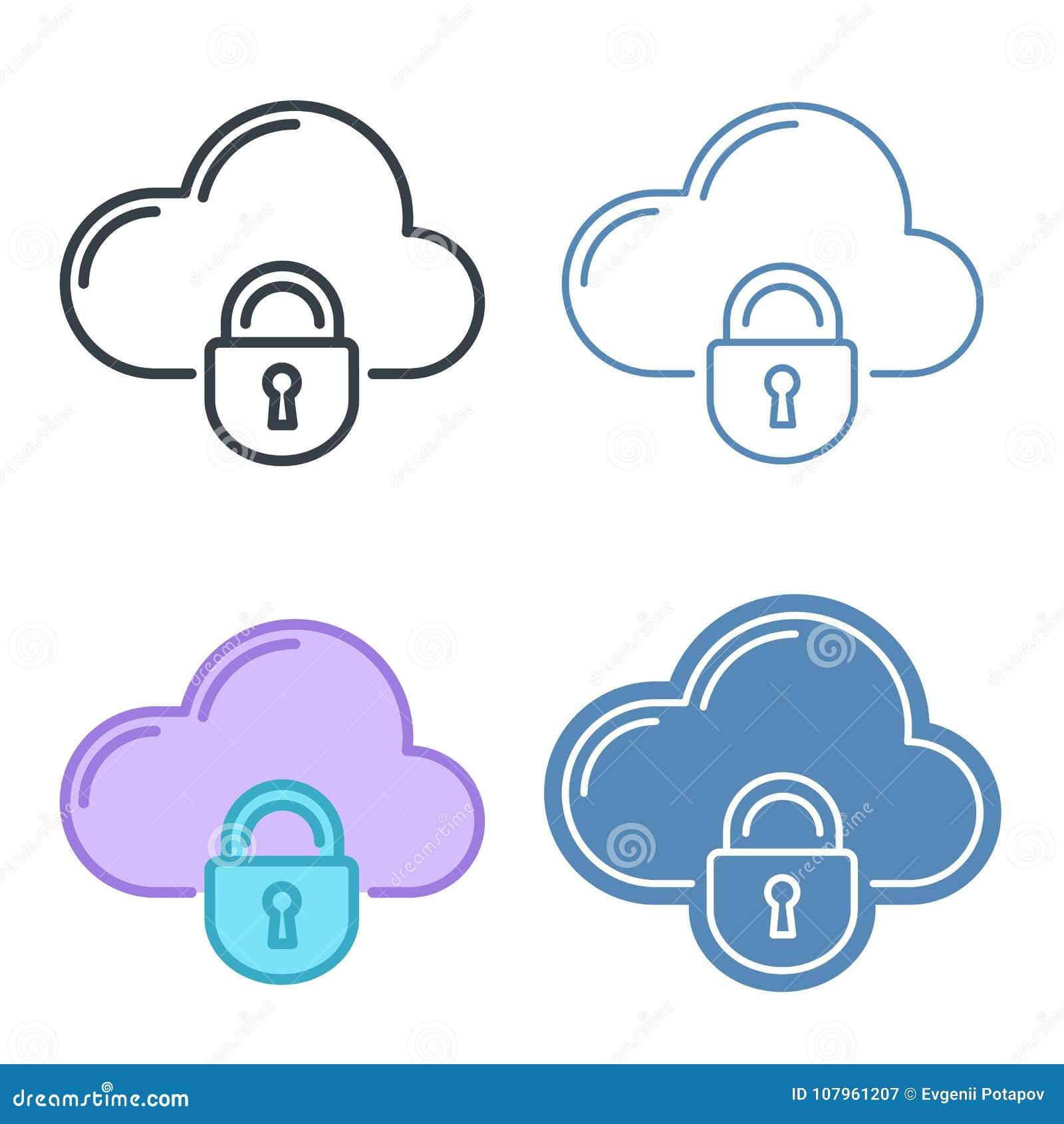 Nuvem com grupo do ícone do esboço do vetor do fechamento