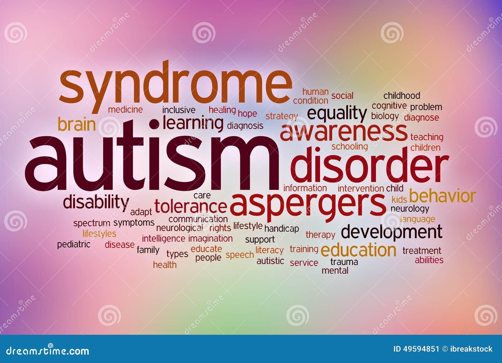 Nuvem da palavra do conceito da inabilidade do autismo em um borrão