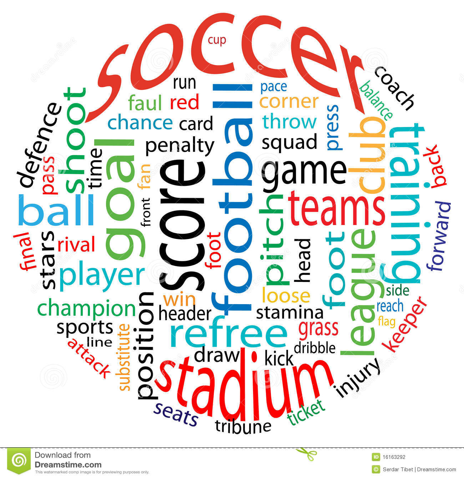 Nuvem da palavra do futebol