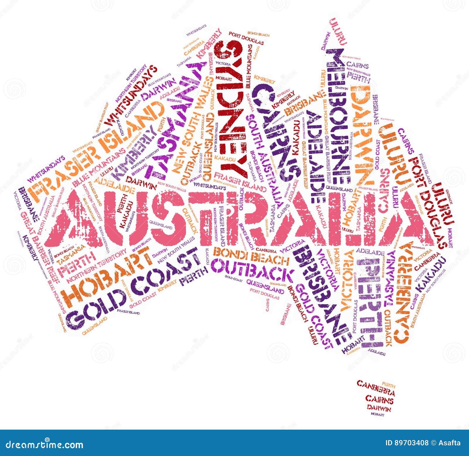 Nuvem da palavra dos destinos do curso da parte superior de Austrália