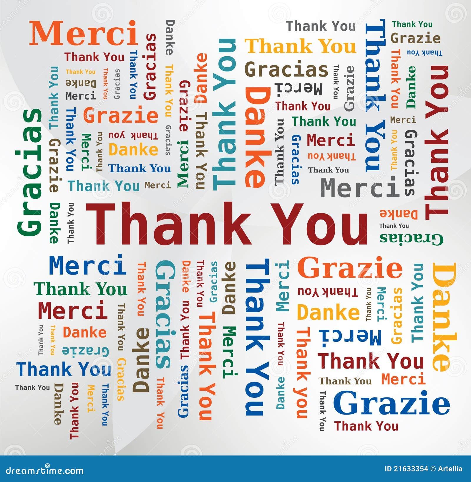Nuvem da palavra obrigado em 5 línguas inglês francês alemão  #02499F 1300 1346