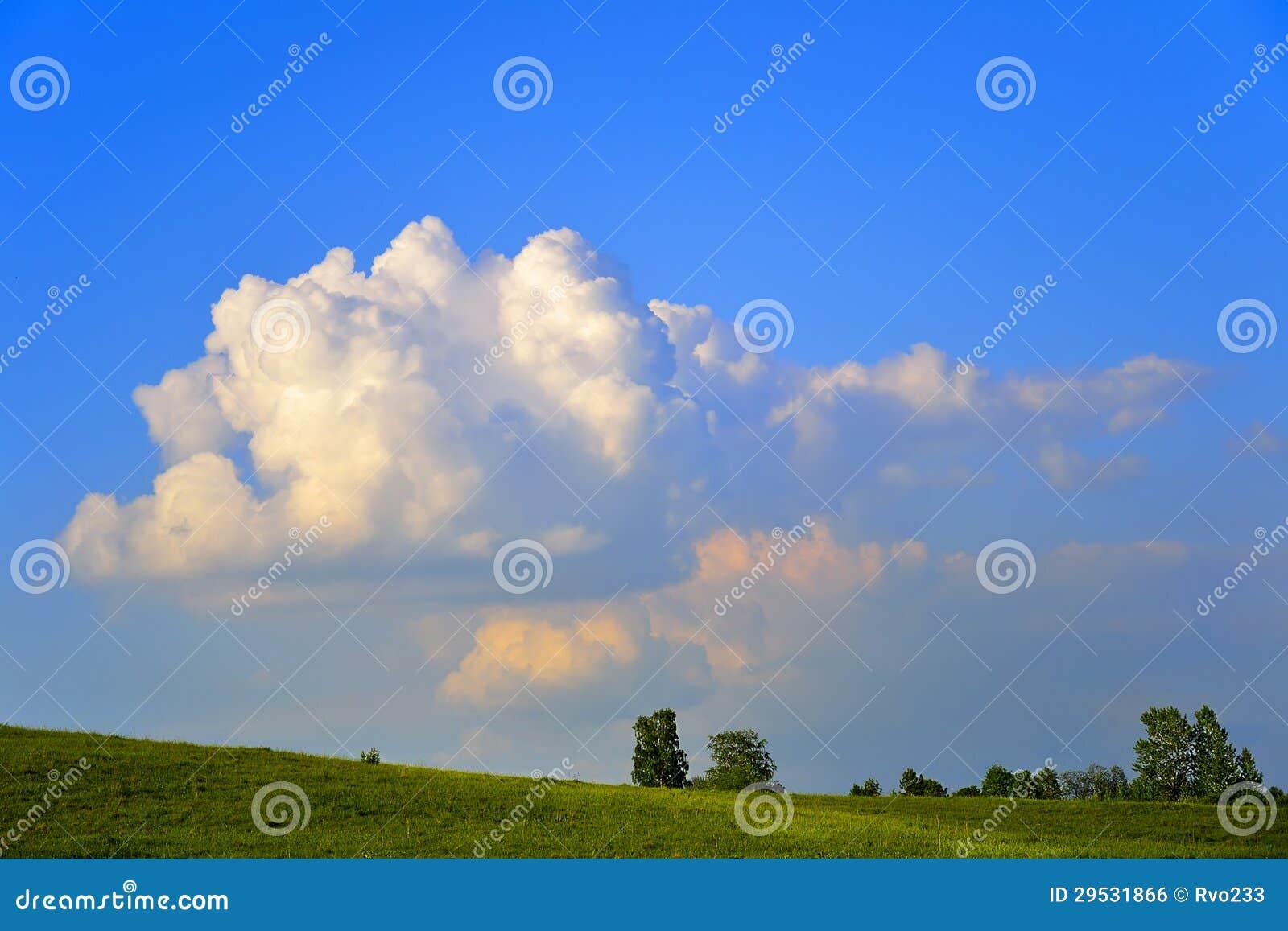 Nuvem dourada sobre o prado