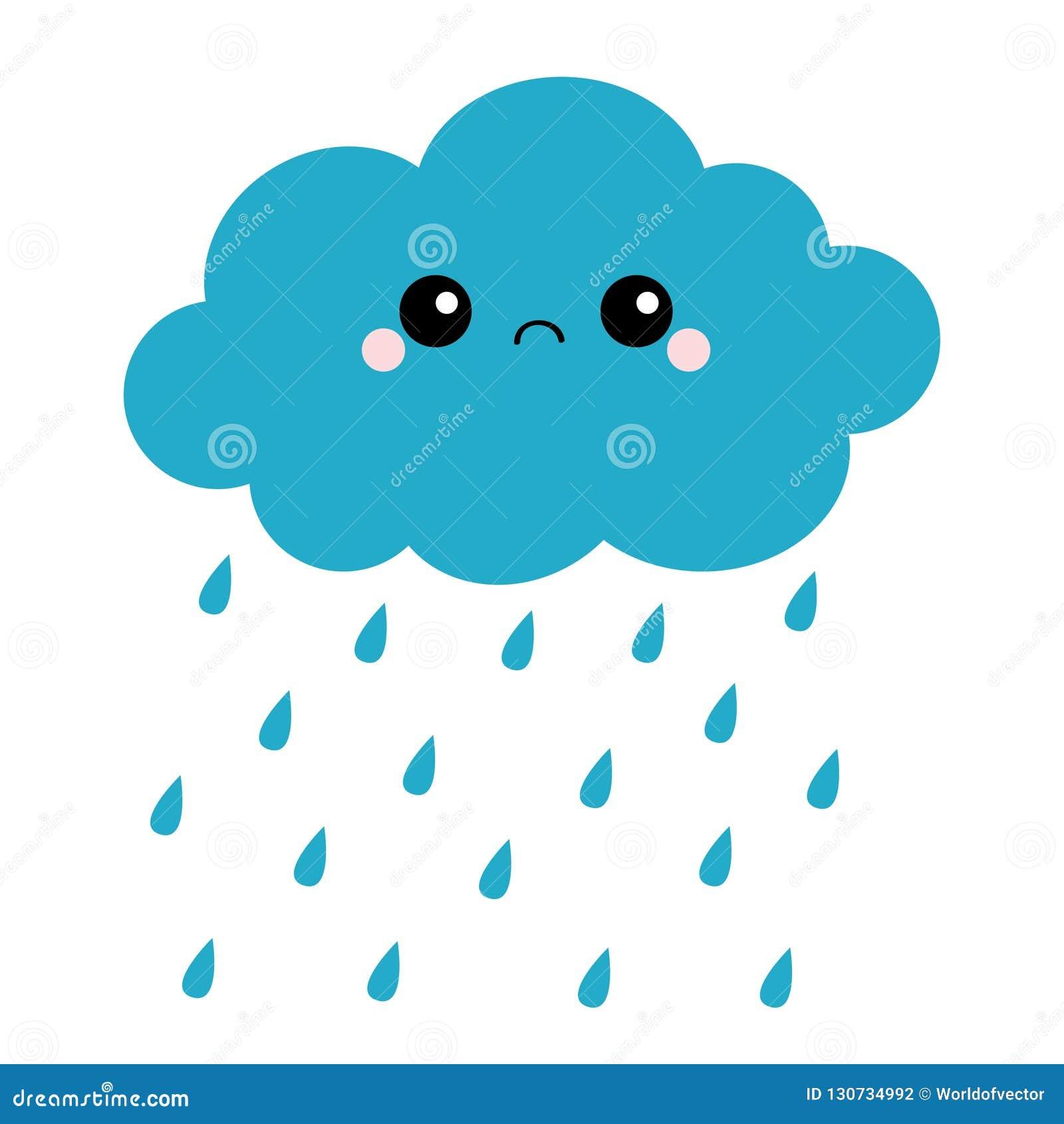 Nuvem Escura Do Kawaii Bonito Dos Desenhos Animados Com Gotas Da Chuva  Emoção Triste Da Cara Olhos E Boca Isolado Fundo Branco Co Ilustração do  Vetor - Ilustração de boca, kawaii: 130734992