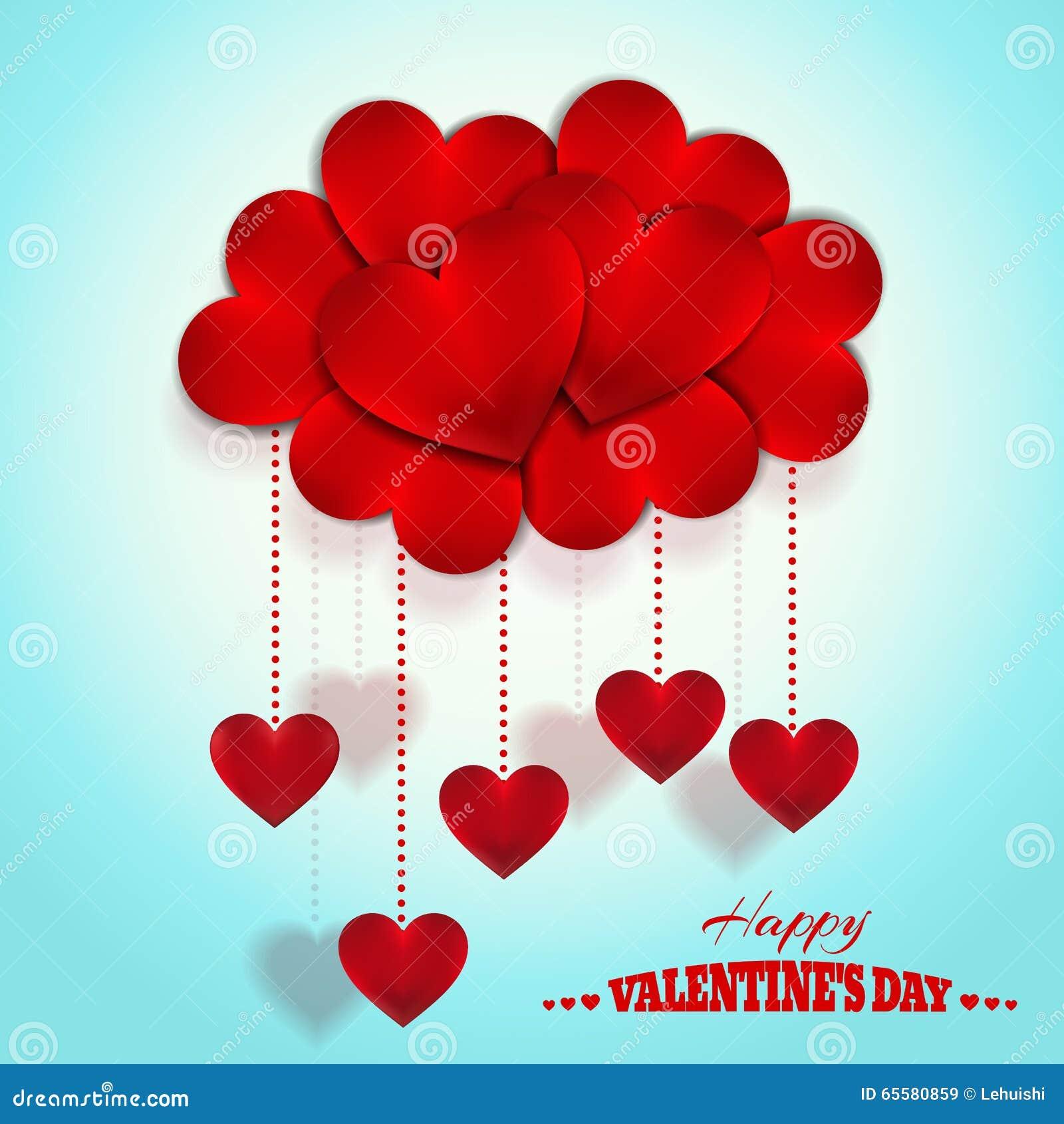 Nuvem feliz dos corações do dia de Valentim Projeto do vetor do feriado