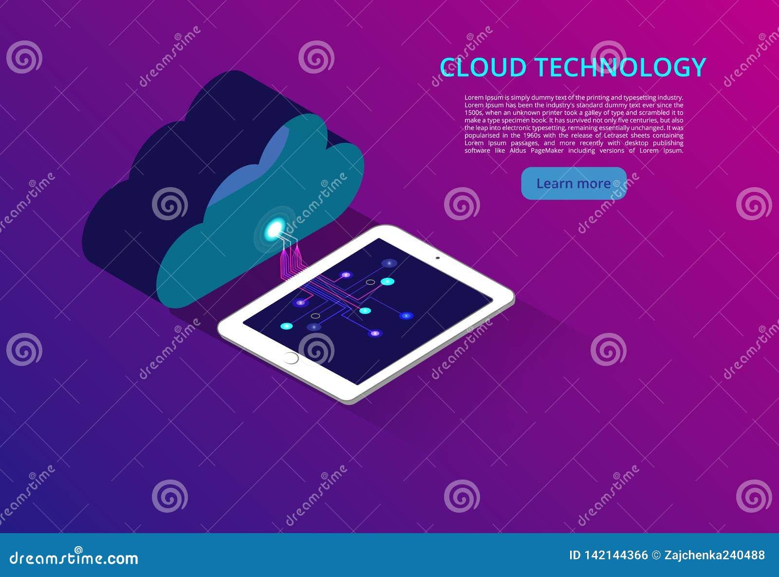 Nuvem que computa o armazenamento em linha baixo poli Tecnologia moderna futura poligonal do negócio do Internet Tecnologia da nu