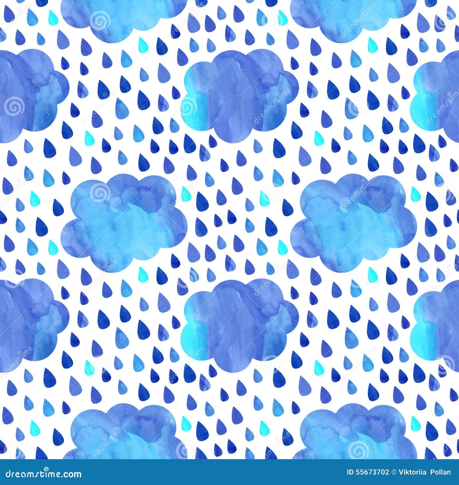 Nuvens chuvosas da aquarela com teste padrão sem emenda do vetor das gotas (azul e claro - cores azuis)