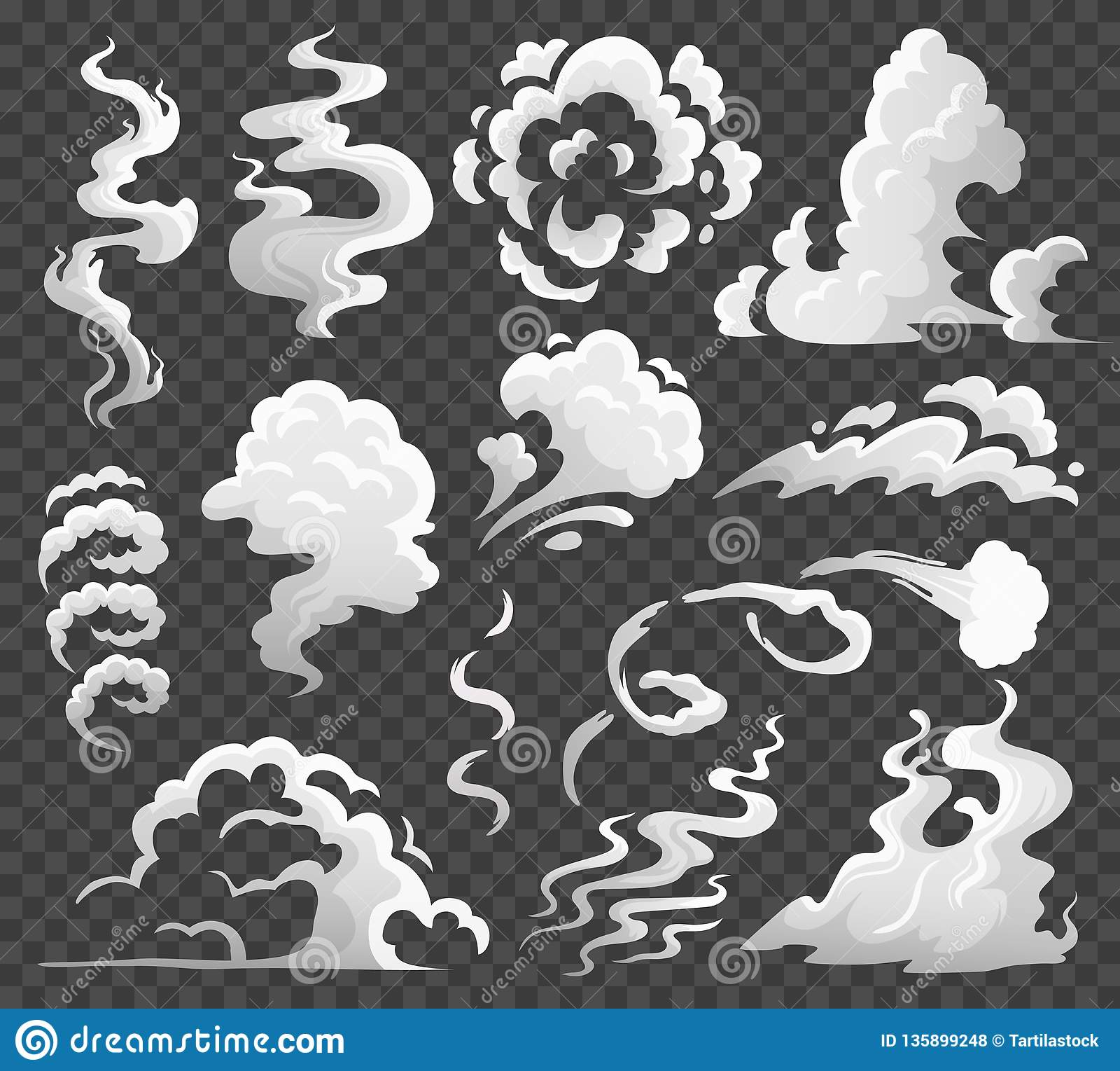 Nuvens de fumo Nuvem cômica do vapor, redemoinho das emanações e fluxo do vapor A poeira nubla-se a ilustração isolada do vetor d