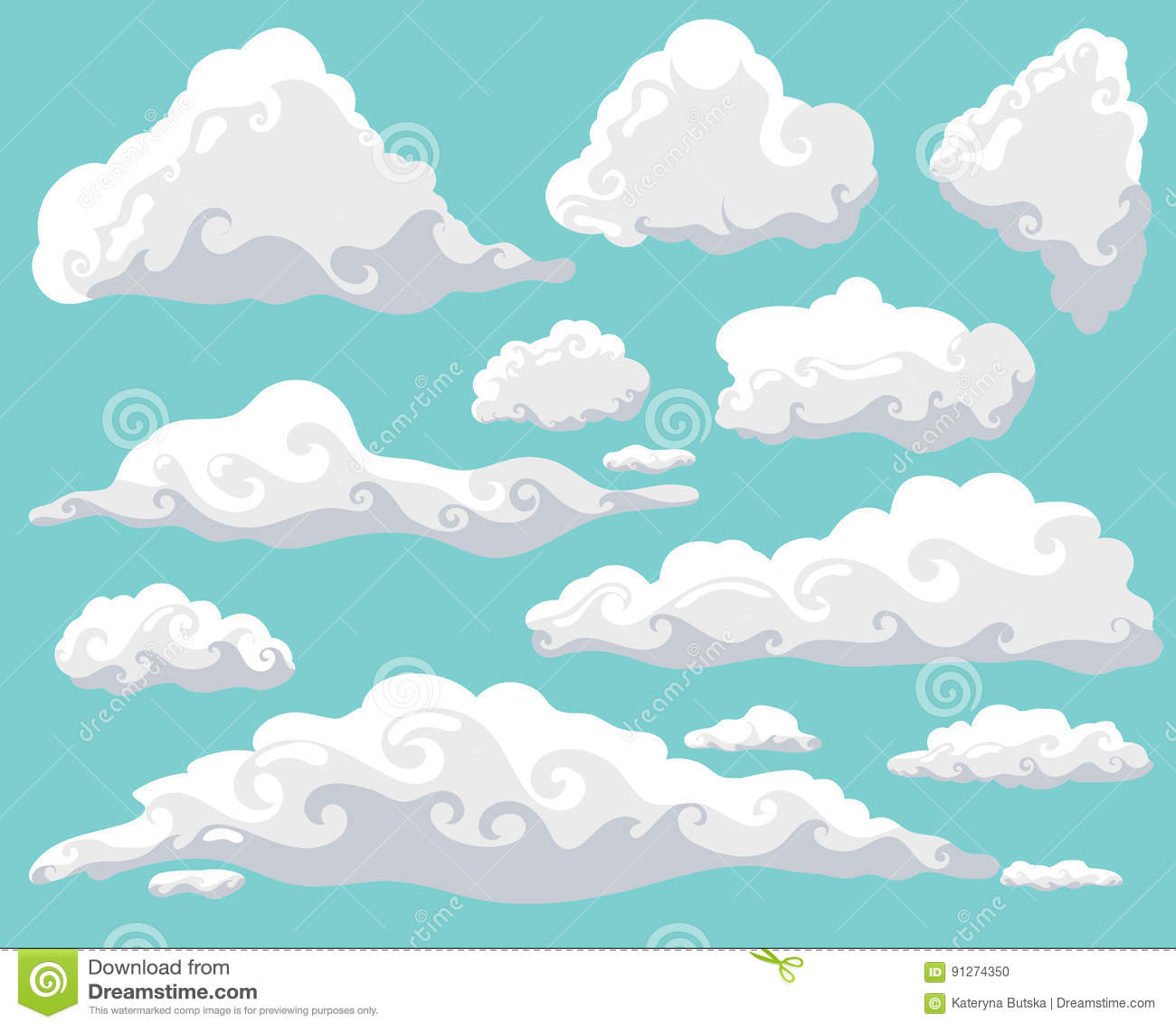 Nuvens Dos Desenhos Animados Ajustadas No Fundo Do Ceu Azul
