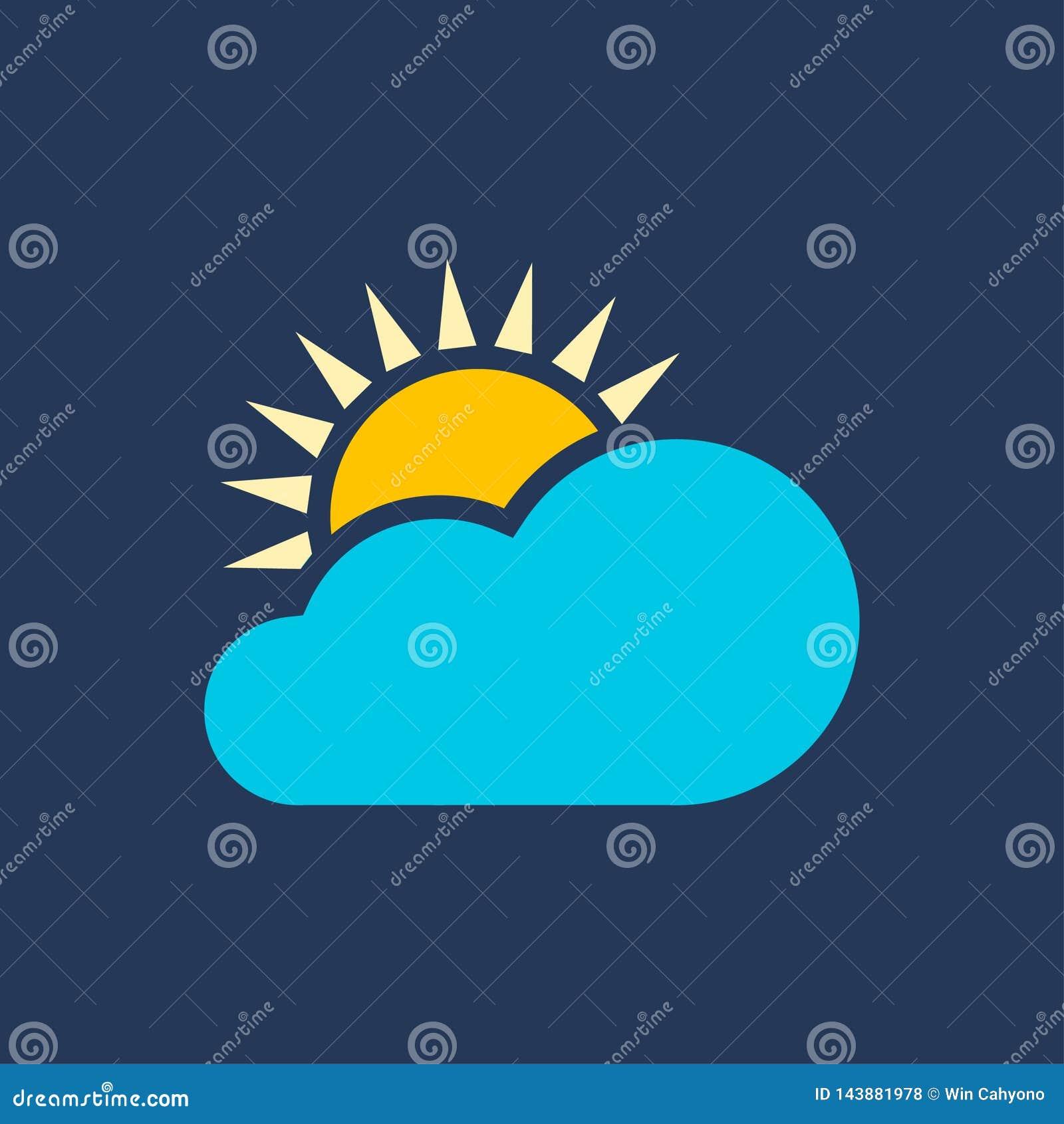 Nuvens e sol para ícones do tempo