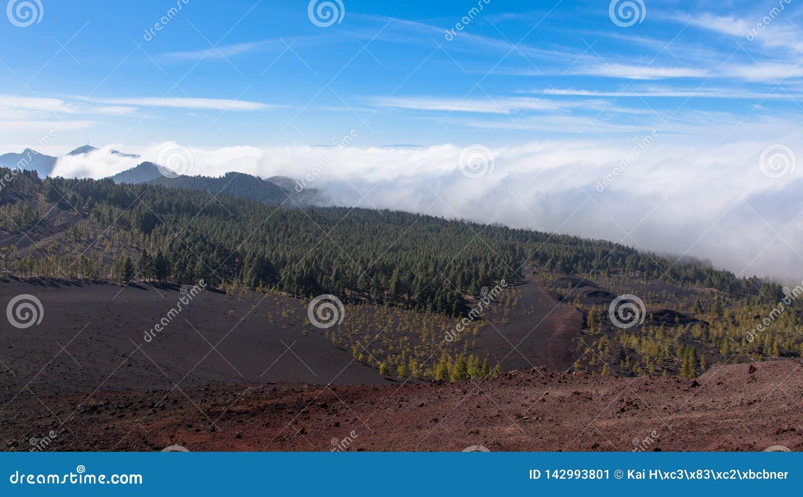 Nuvens ornographic notáveis da cachoeira que derramam sobre a inclinação do sotavento das montanhas em Tenerife do norte