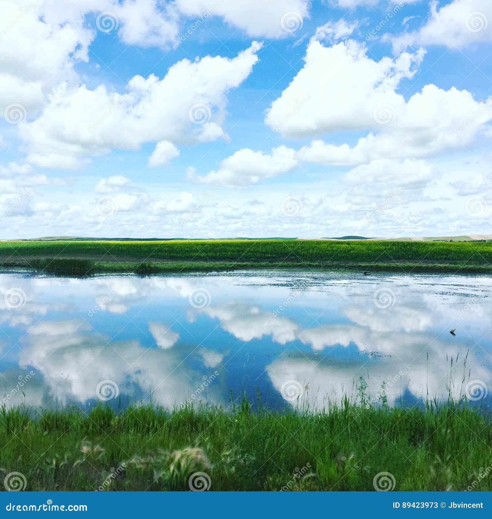 Nuvens que refletem na água e em campos de exploração agrícola calmos no fundo