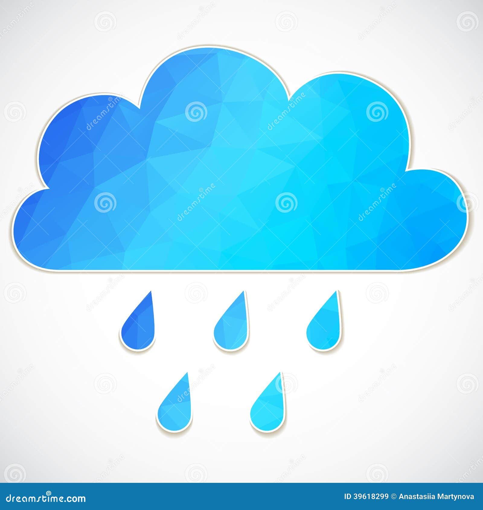 Nuvola blu con goccia di pioggia dei triangoli