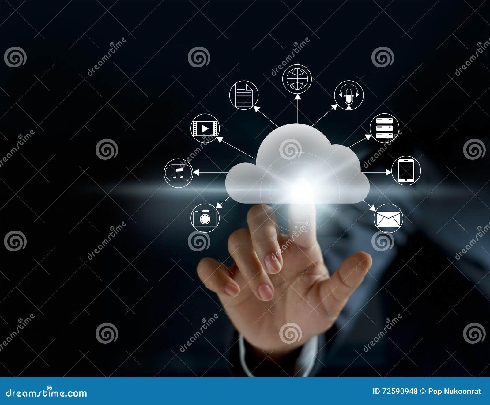 Nuvola che computa, connettività futuristica di tecnologia di visualizzazione