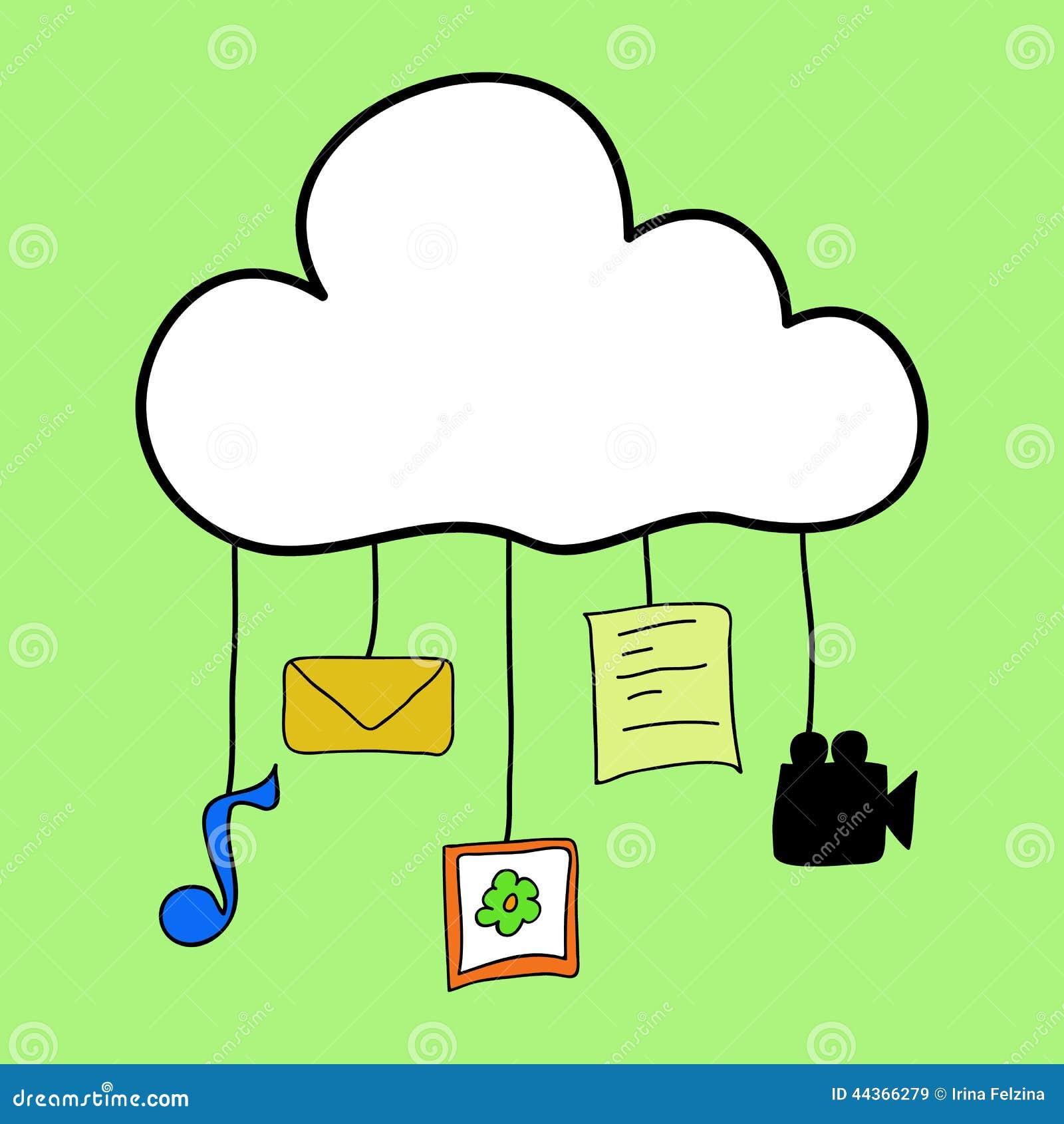 Nuvola che computa nello stile di scarabocchio