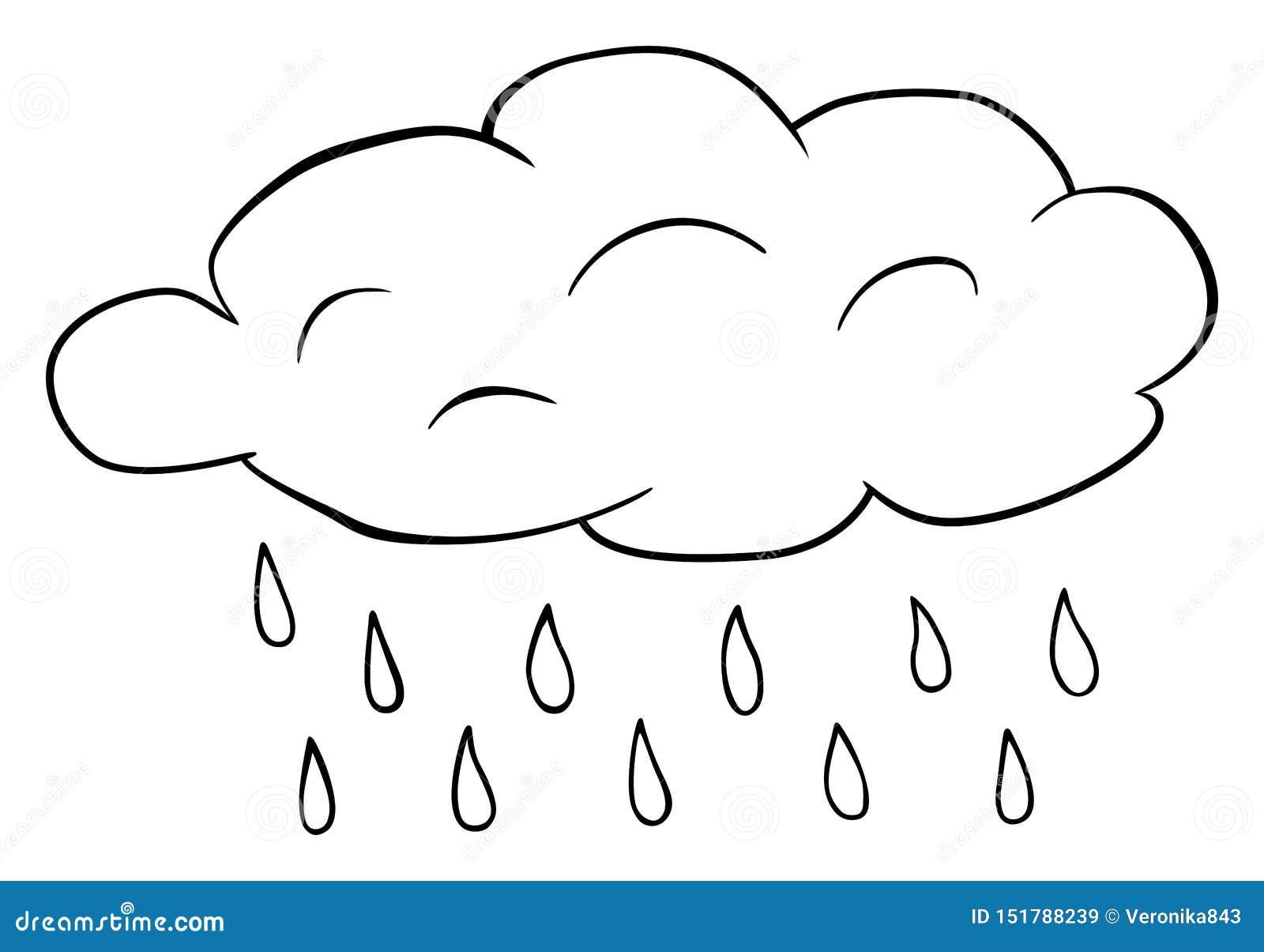 Nuvola Con Il Clipart Delle Gocce Di Pioggia Illustrazione Del Profilo Delle Gocce Di Acqua Di Vettore Libro Da Colorare Per I Ba Illustrazione Vettoriale Illustrazione Di Disegno Mano 151788239