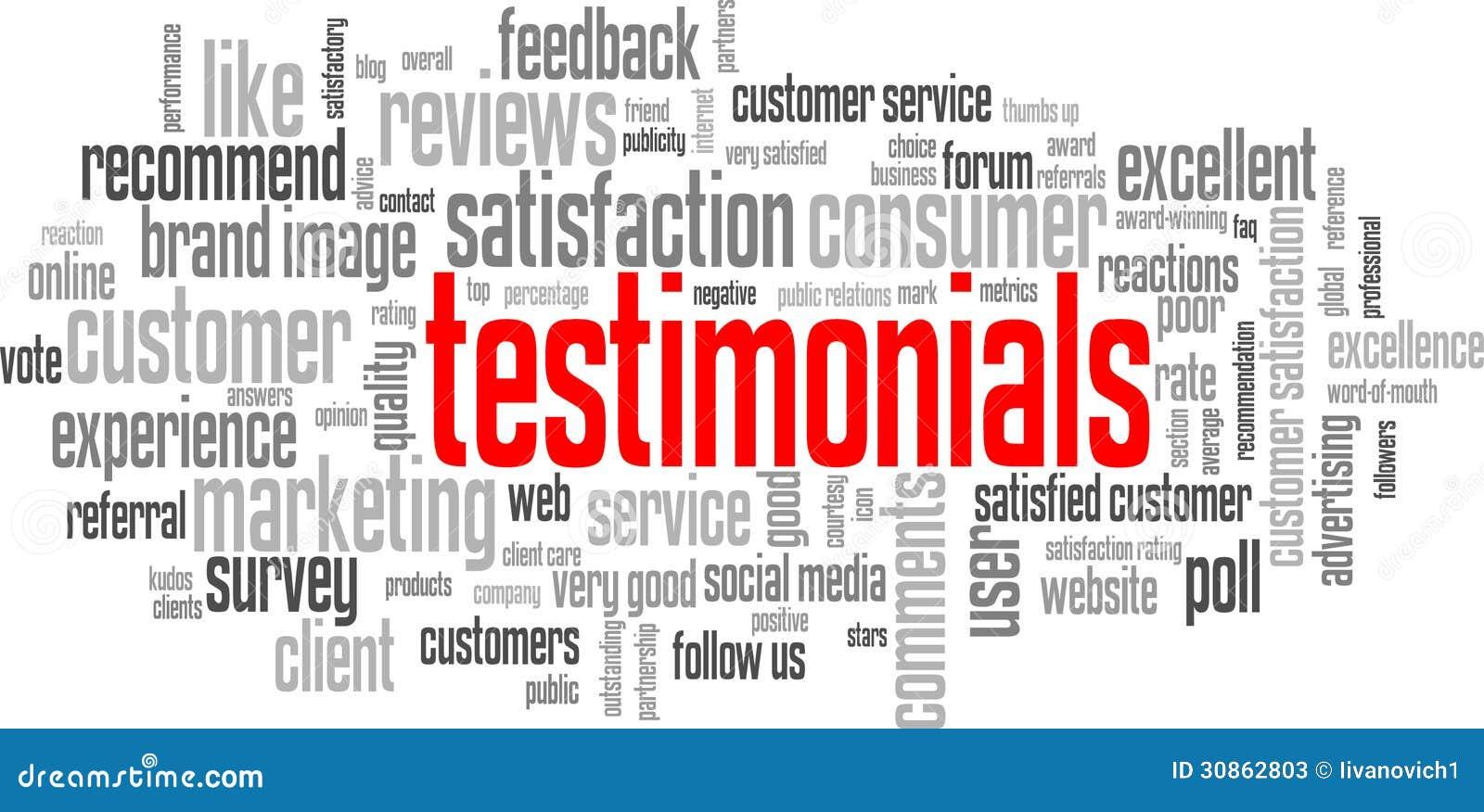 Nuvola dell etichetta di TESTIMONIANZE (qualità di soddisfazione di servizio di assistenza al cliente)