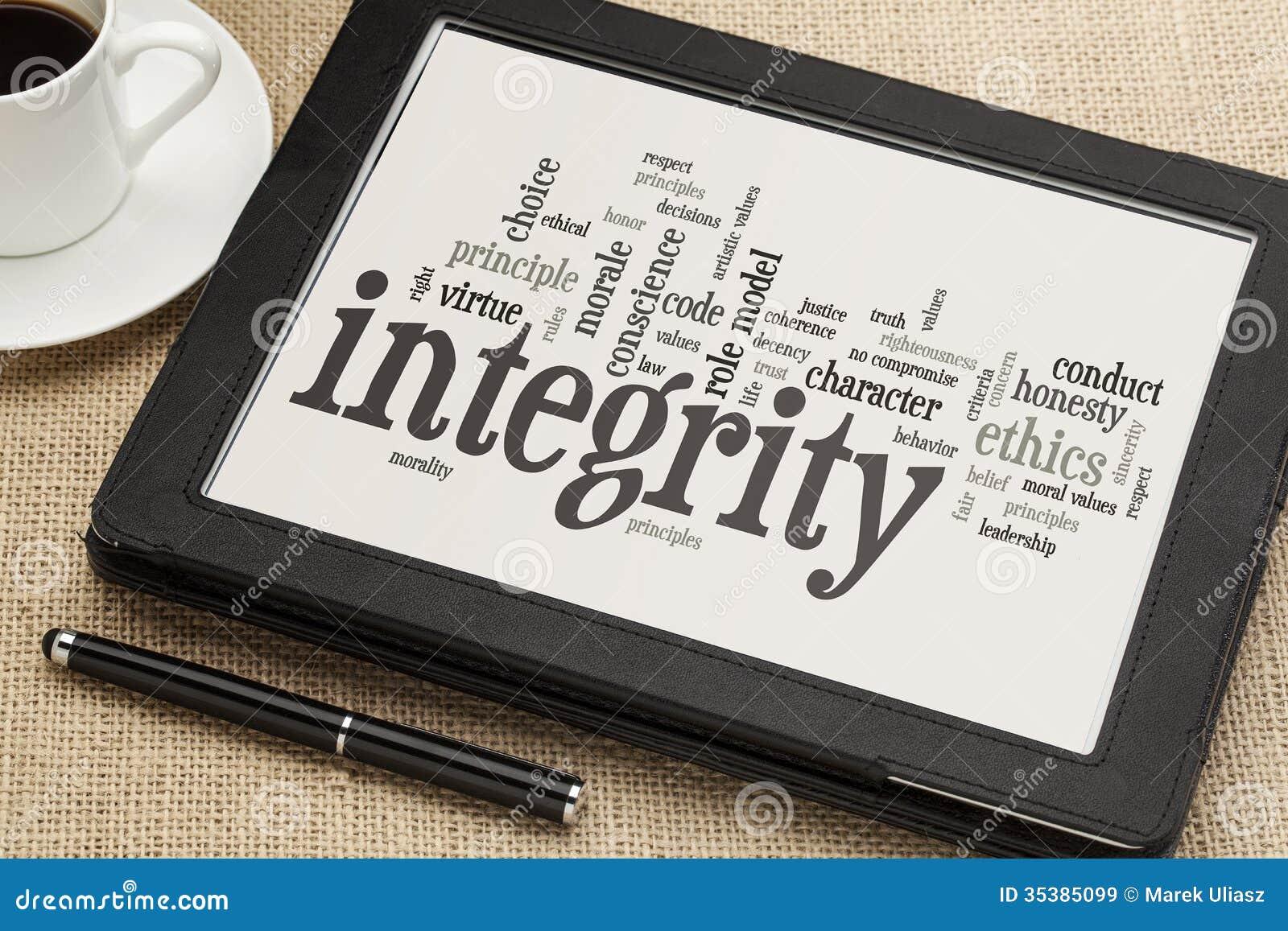 Nuvola di parola di integrità sulla compressa digitale