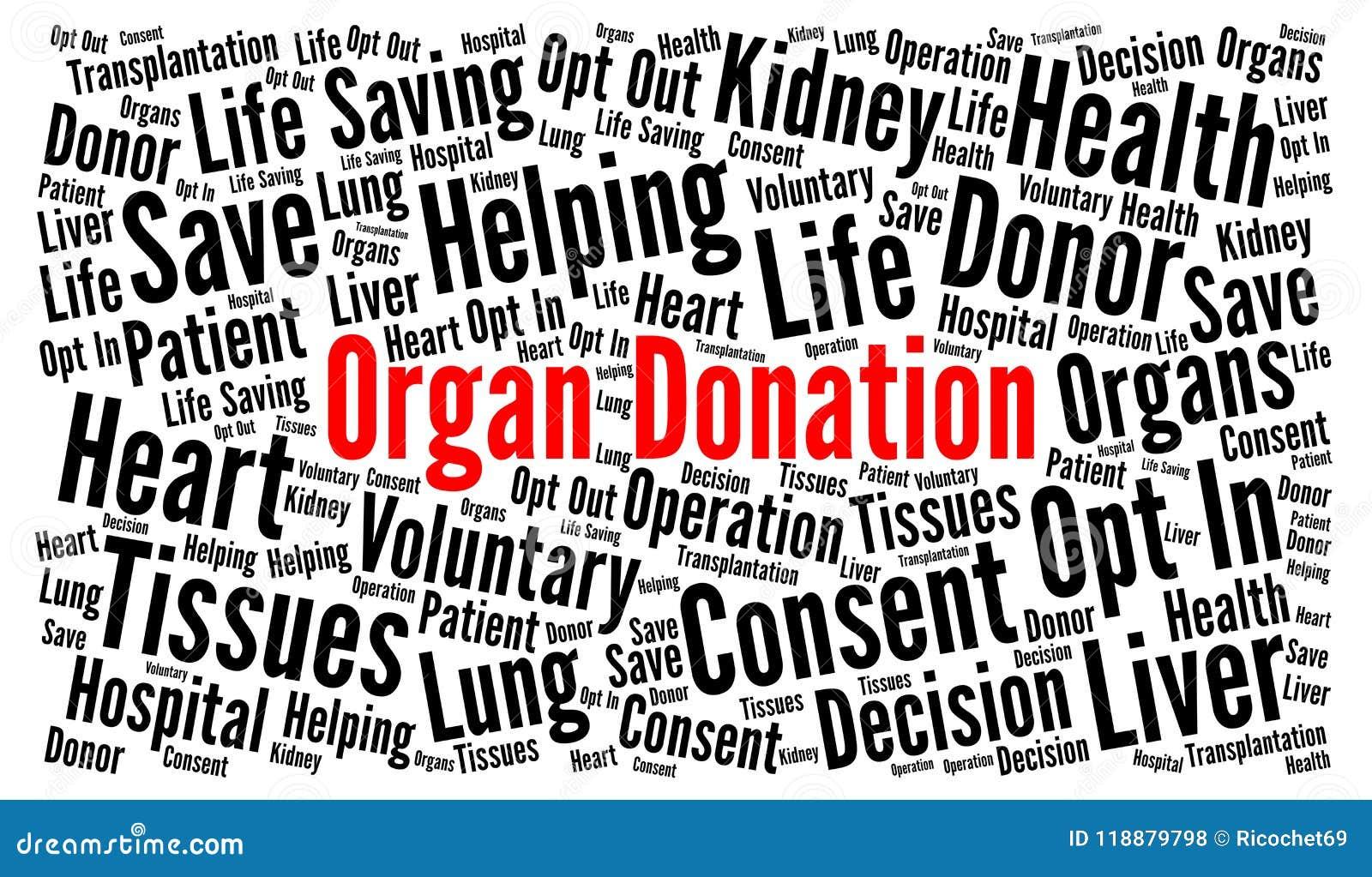 Nuvola di parola di donazione di organo
