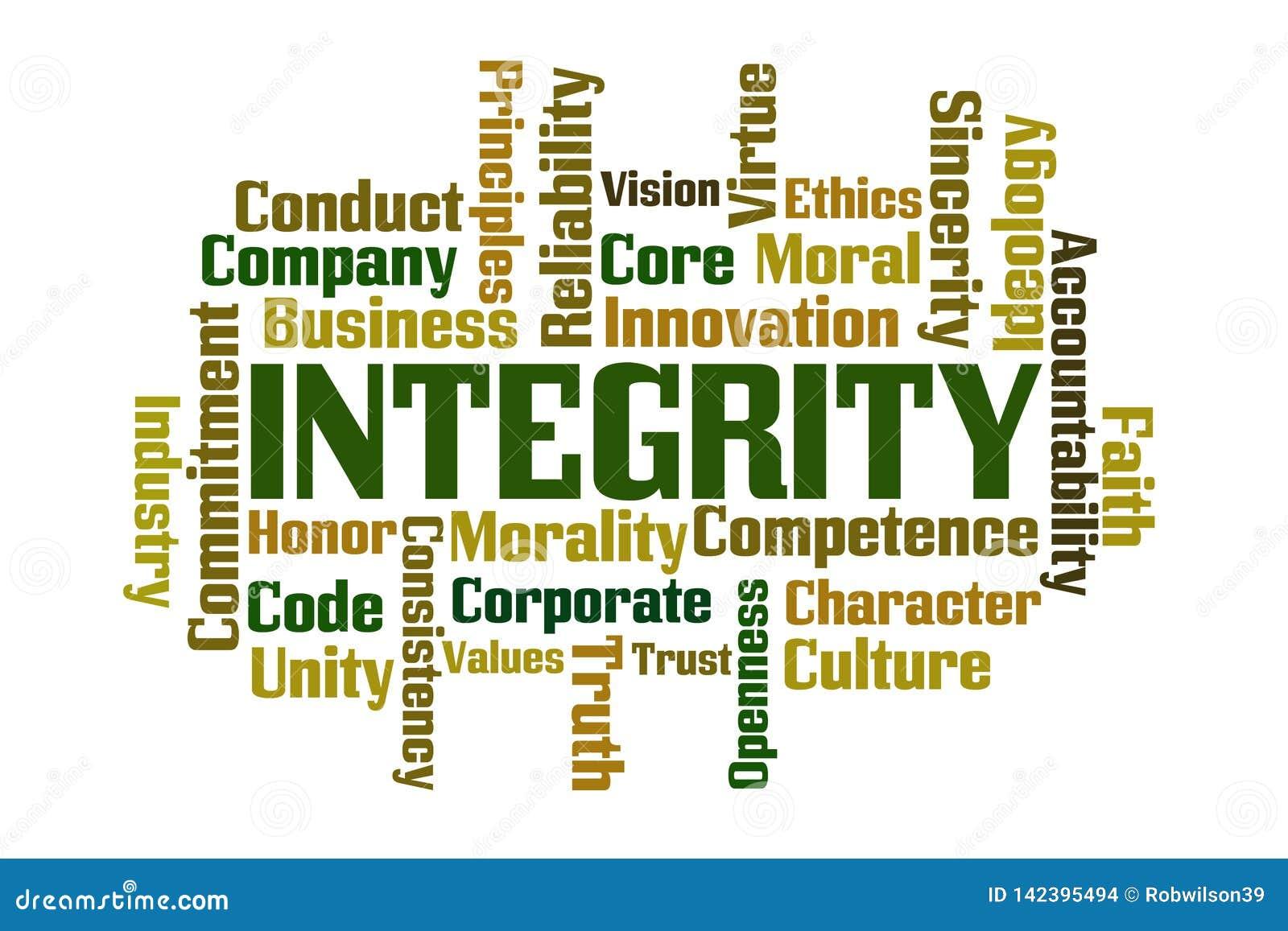 Nuvola di parola di integrità