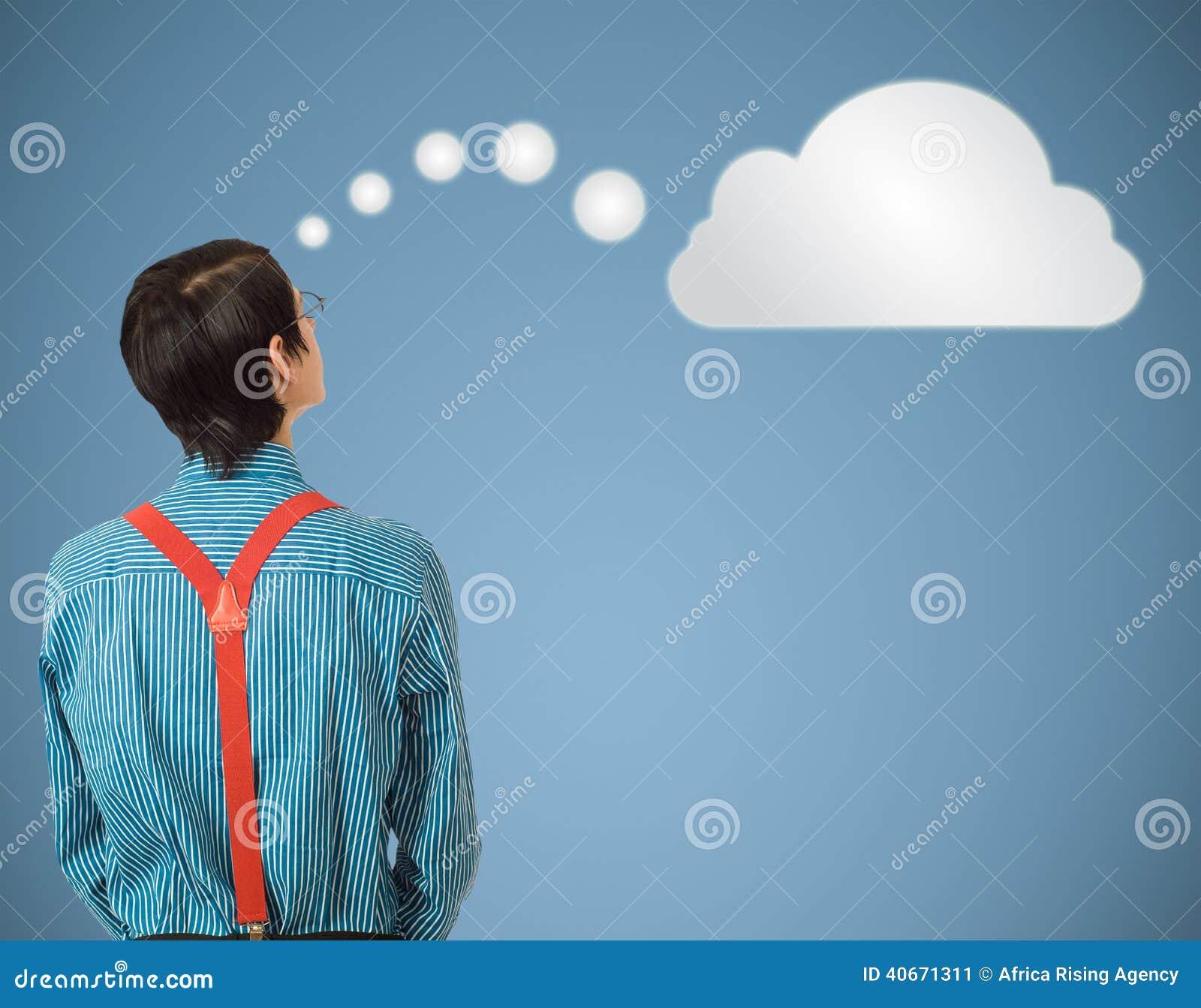Nuvola di pensiero o computazione dell uomo d affari del geek del nerd