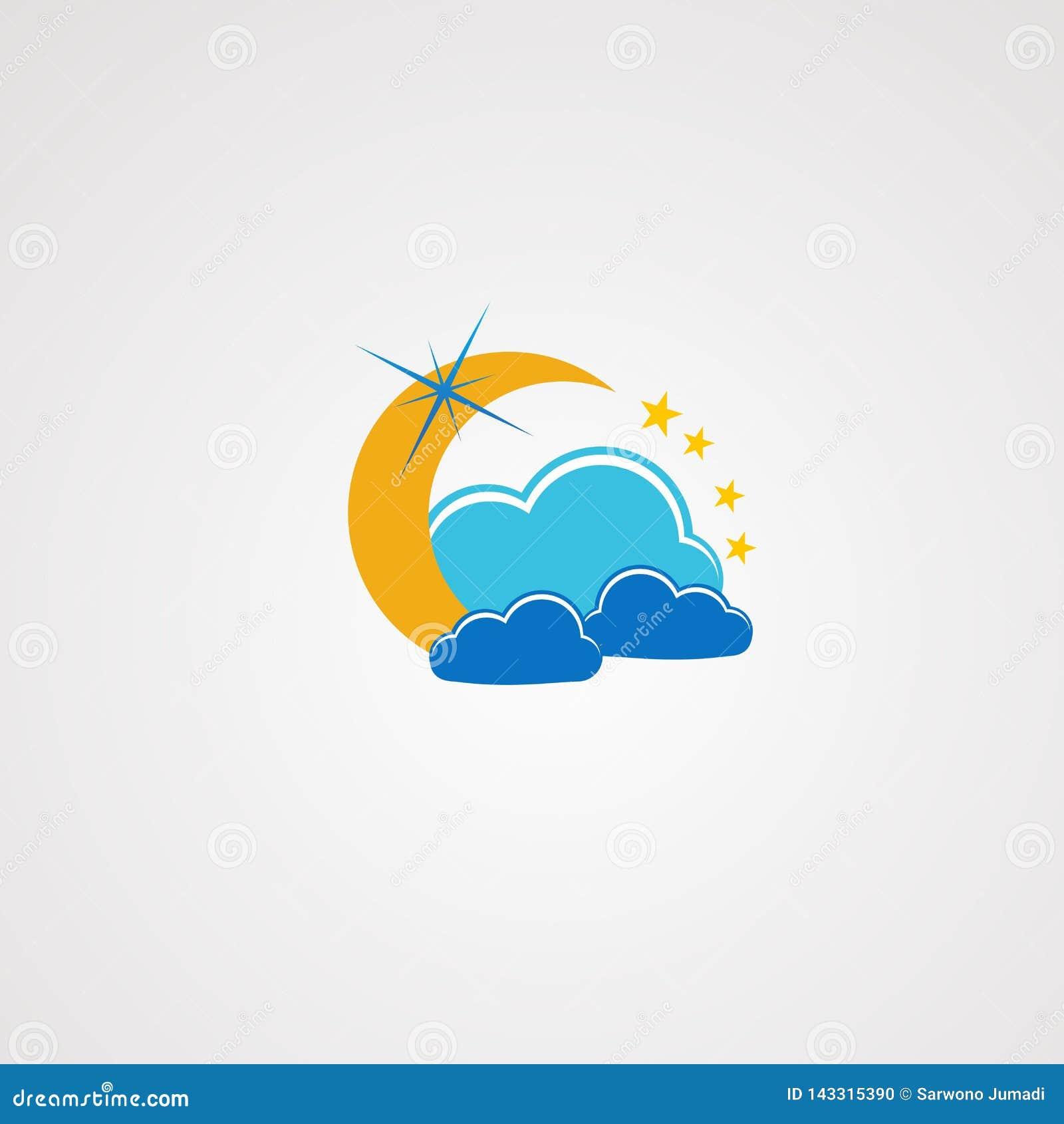 Nuvola di sogno con pochi vettore, icona, elemento e modello di logo della stella per la società