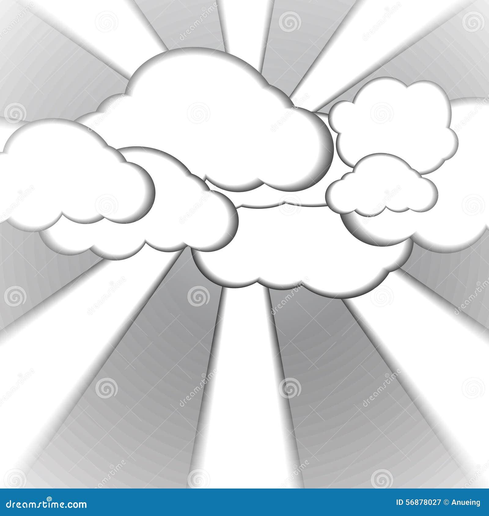 Nuvola e fondo di carta nebbioso di stile