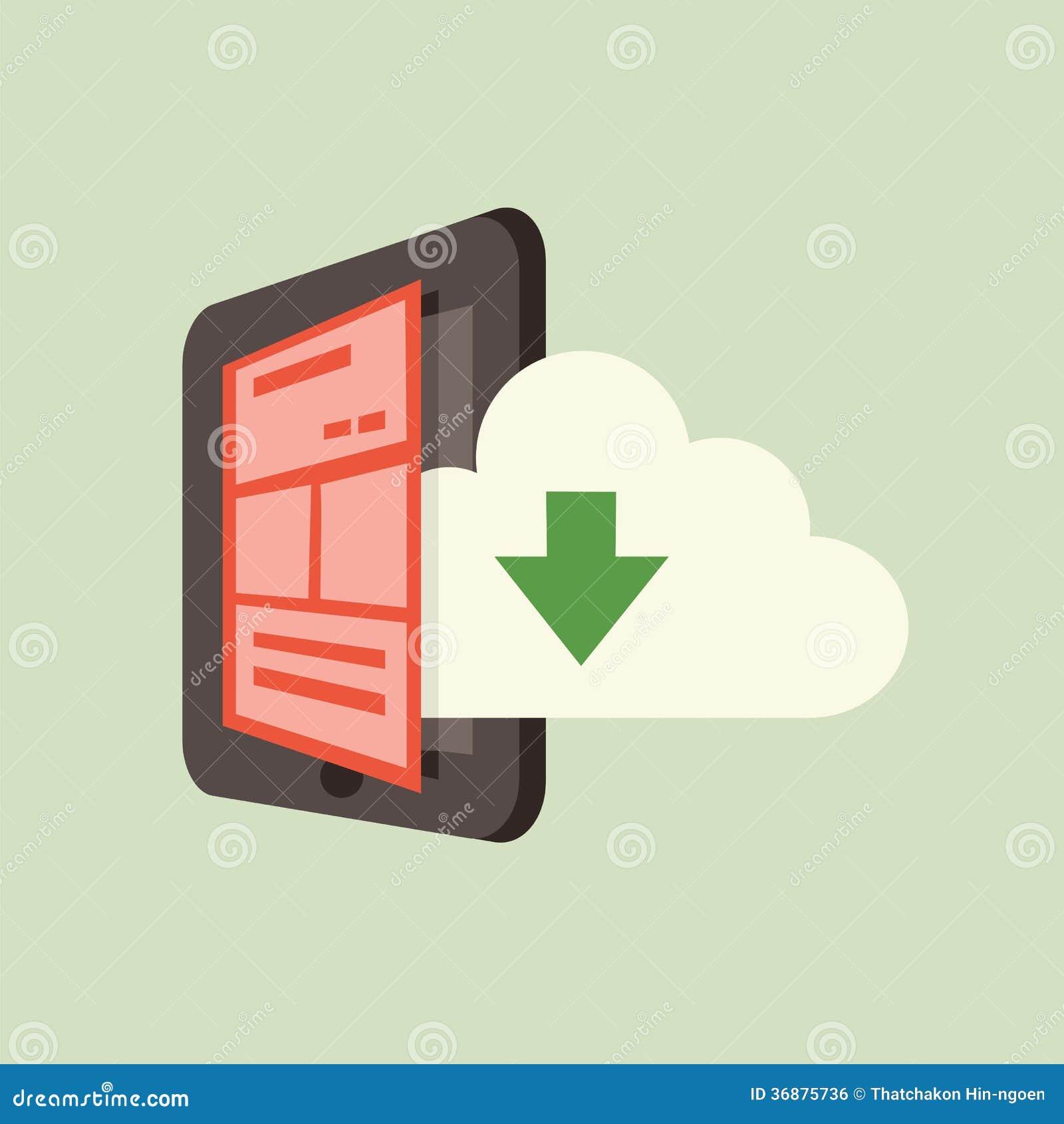 Download Nuvola e smartphone illustrazione vettoriale. Illustrazione di collegamento - 36875736