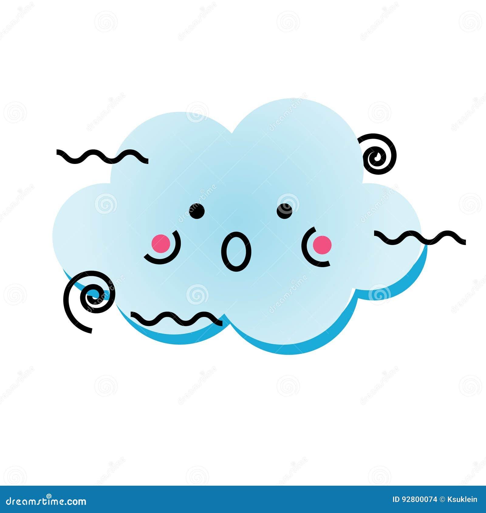 Nuvola Sveglia Del Vento Di Kawaii Lelemento Isolato Di