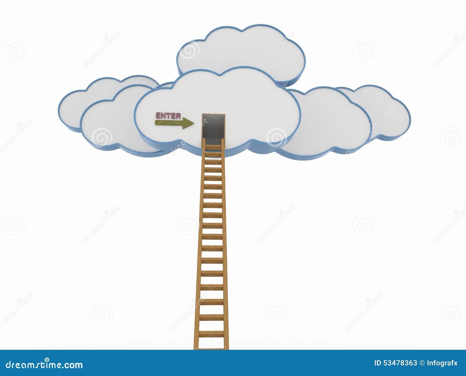 nuvole con la scala la concorrenza di legno e la nuvola
