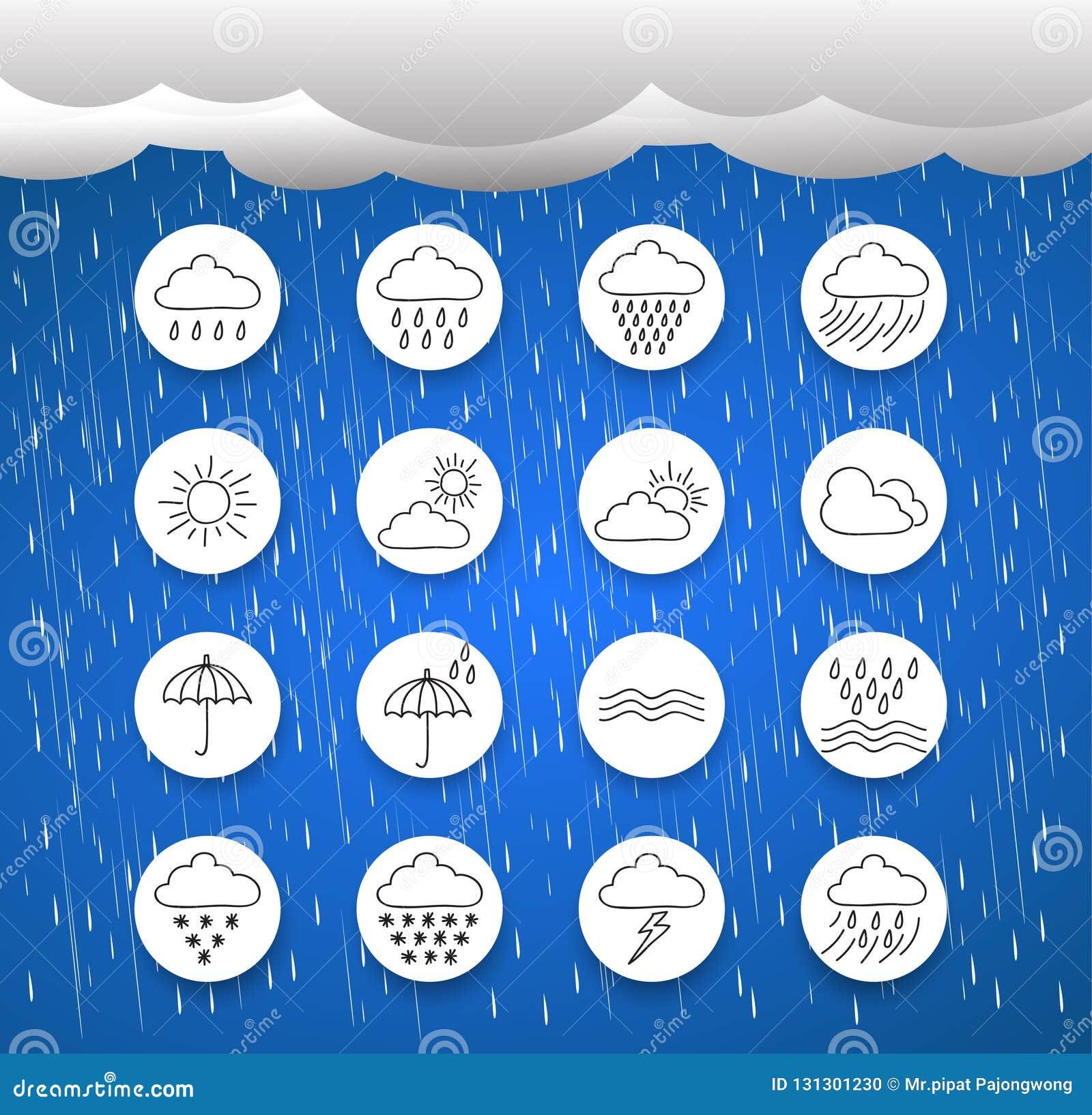 Nuvole e tempesta, icona del tempo, simboli della pioggia, stile di disegno