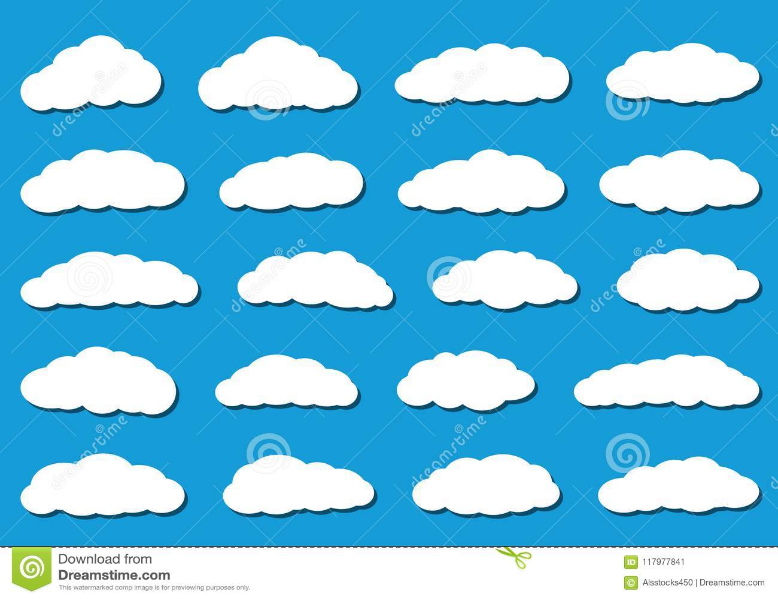 Download Nuvole Piane Bianche Con Le Ombre Illustrazione Vettoriale - Illustrazione di figura, carta: 117977841