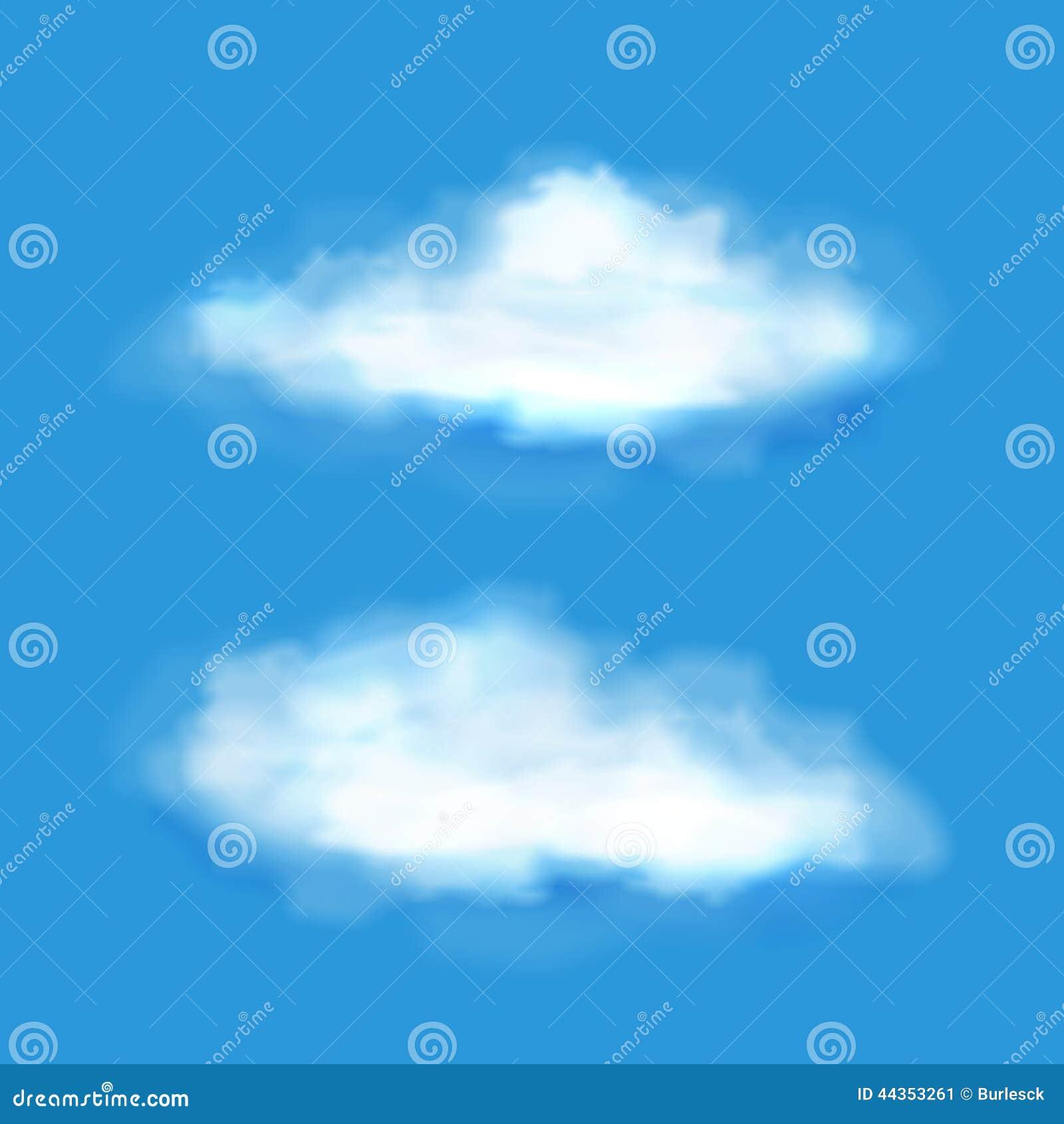 Nuvole trasparenti di vettore su un cielo blu