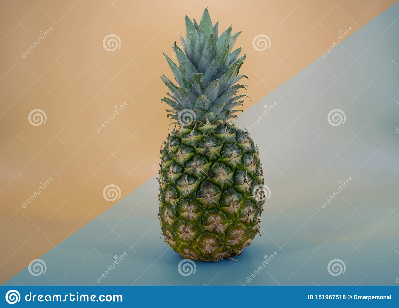 Ny ananasfrukt, modern backraundorangutangblått