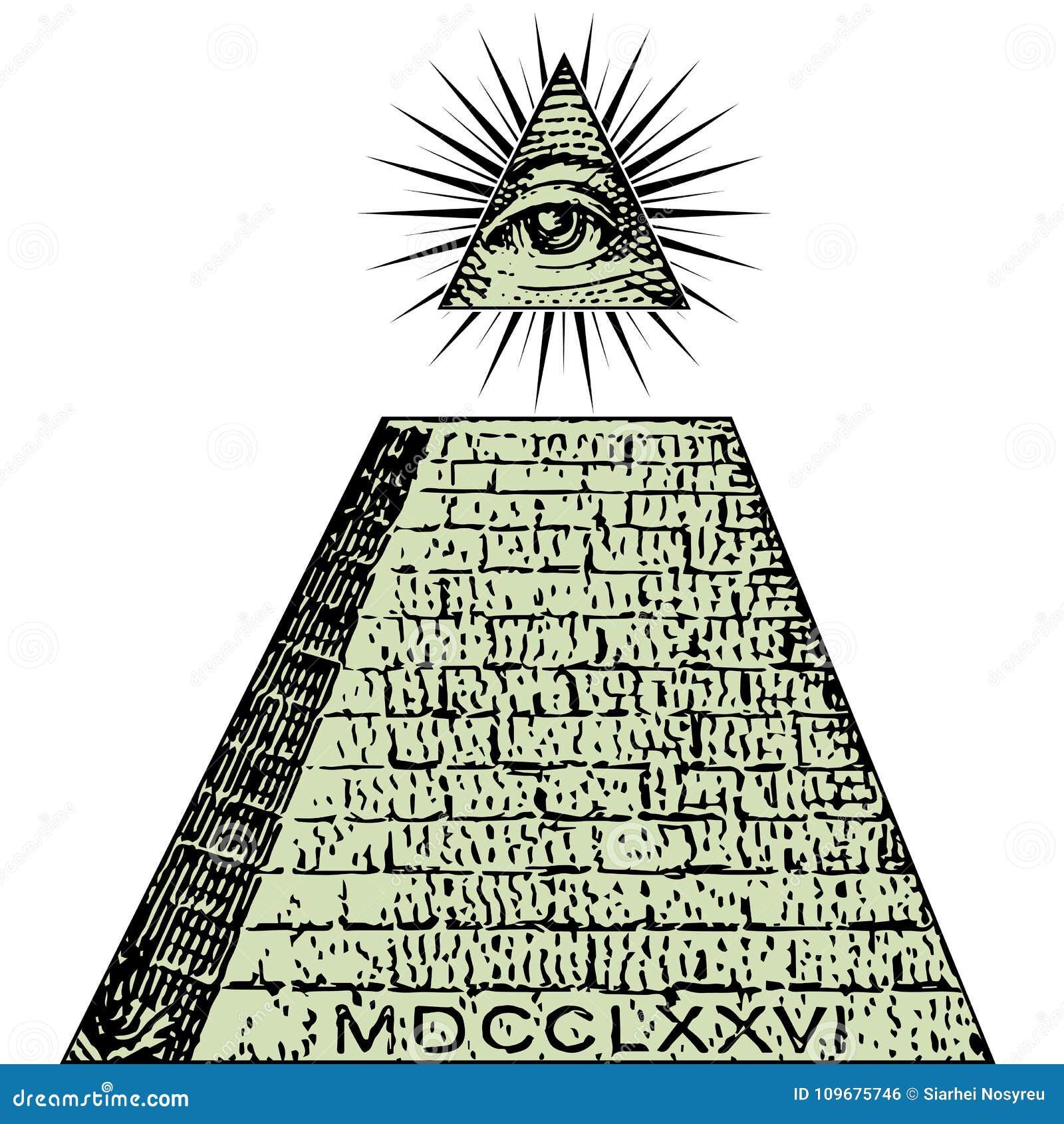 Ny beställningsvärld En dollar, pyramid Illuminati symbolräkning, frimurar- tecken, all seende ögonvektor